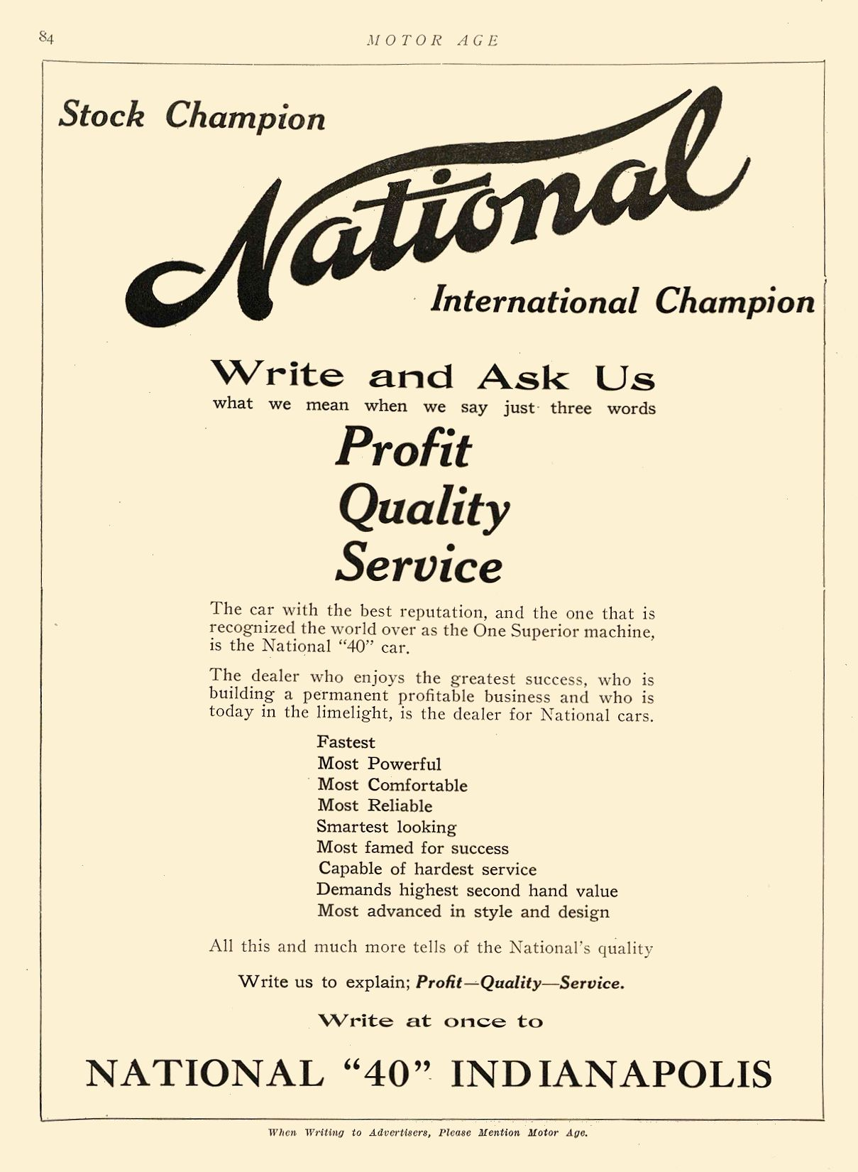"""1912 7 4 NATIONAL National Write and Ask Us NATIONAL """"40,"""" INDIANAPOLIS Indianapolis, IND MOTOR AGE July 4, 1912 8.5″x11.75″ page 84"""