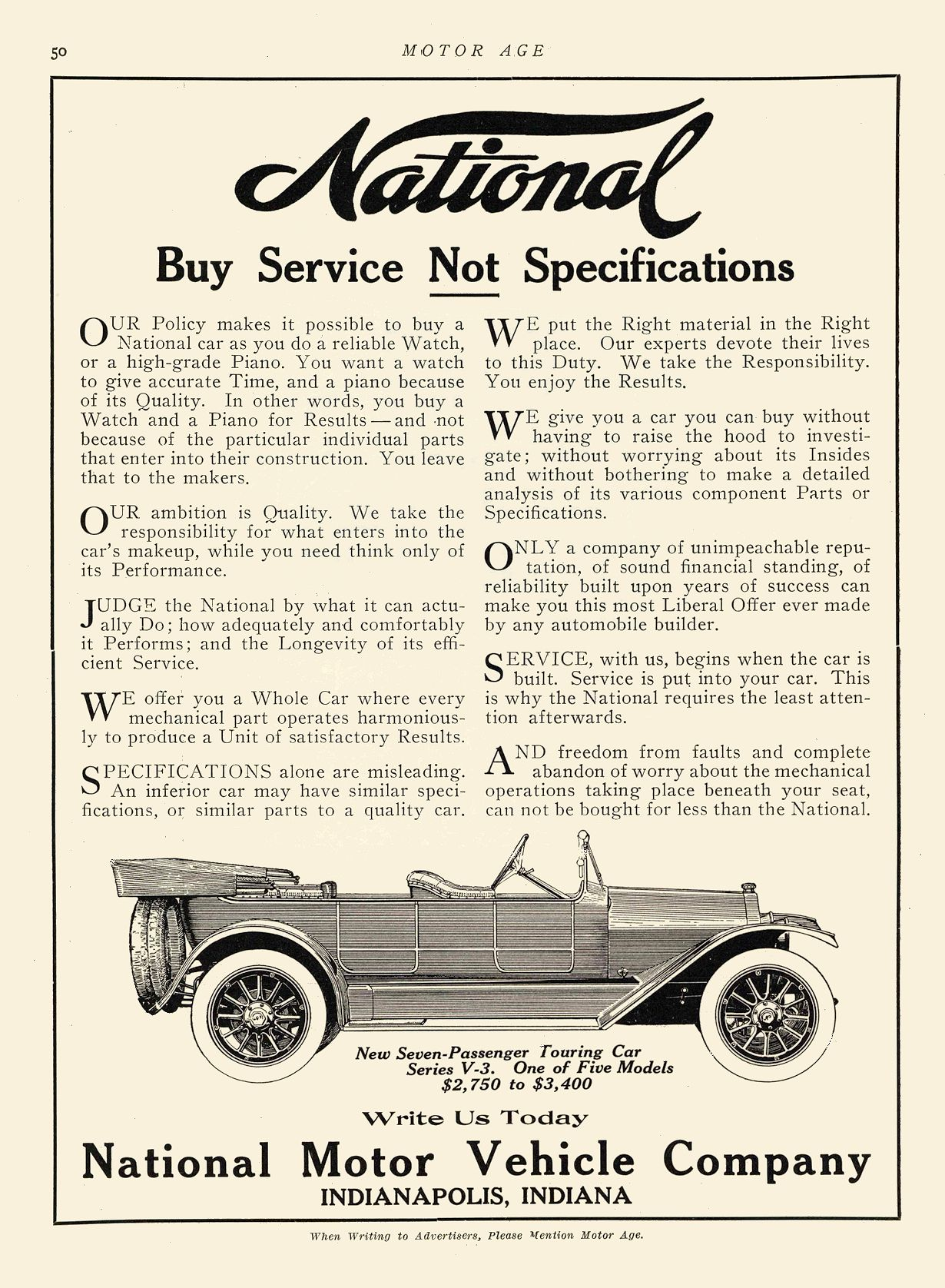 1912 7 ca. NATIONAL Buy Service Not Specifications National Motor Vehicle Company Indianapolis, IND MOTOR AGE ca. July 1912 8.5″x12″ page 50