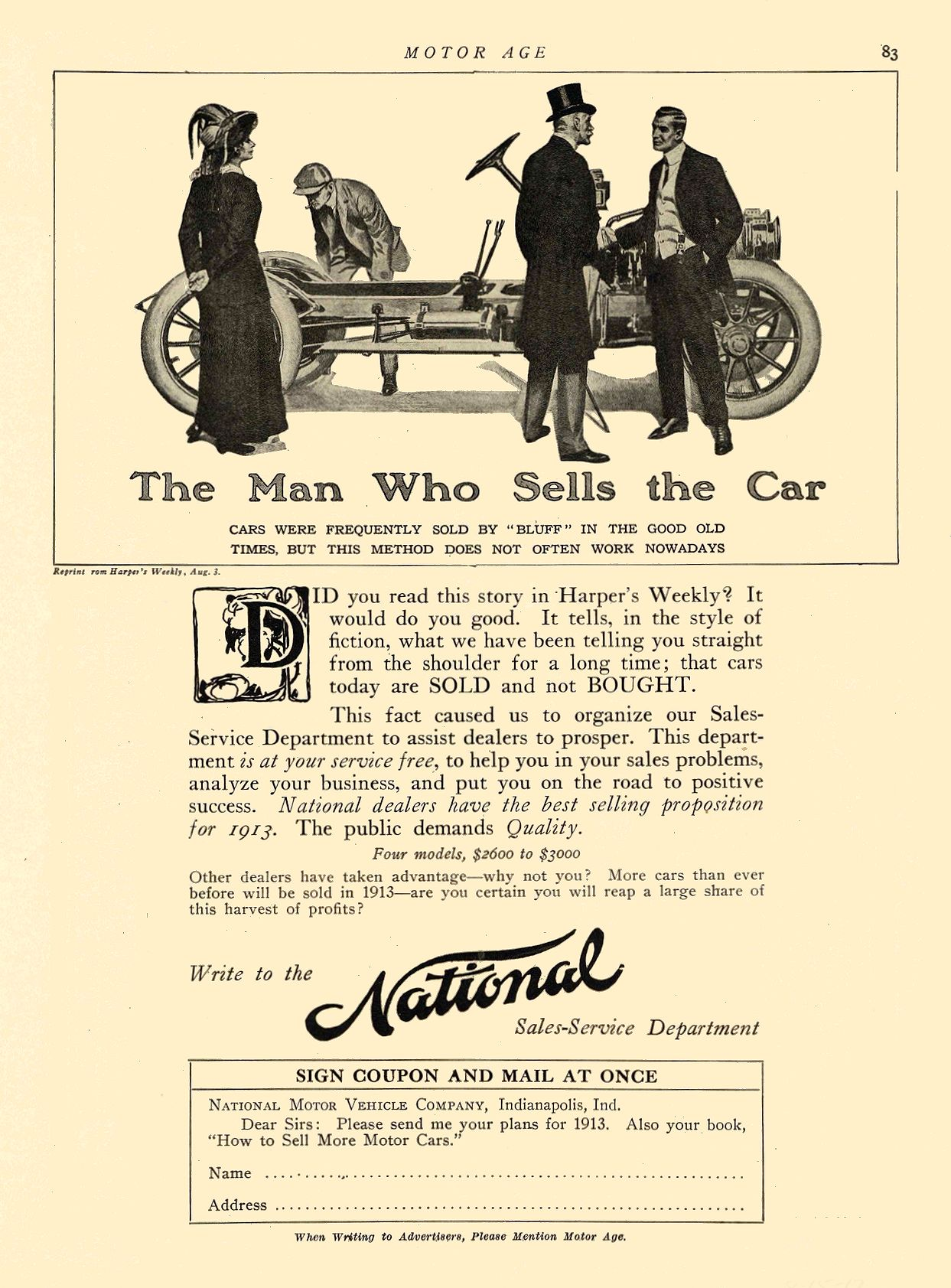 1912 8 15 NATIONAL The Man Who Sells the Car National NATIONAL MOTOR VEHICLE COMPANY Indianapolis, IND MOTOR AGE August 15, 1912 8.5″x12″ page 83