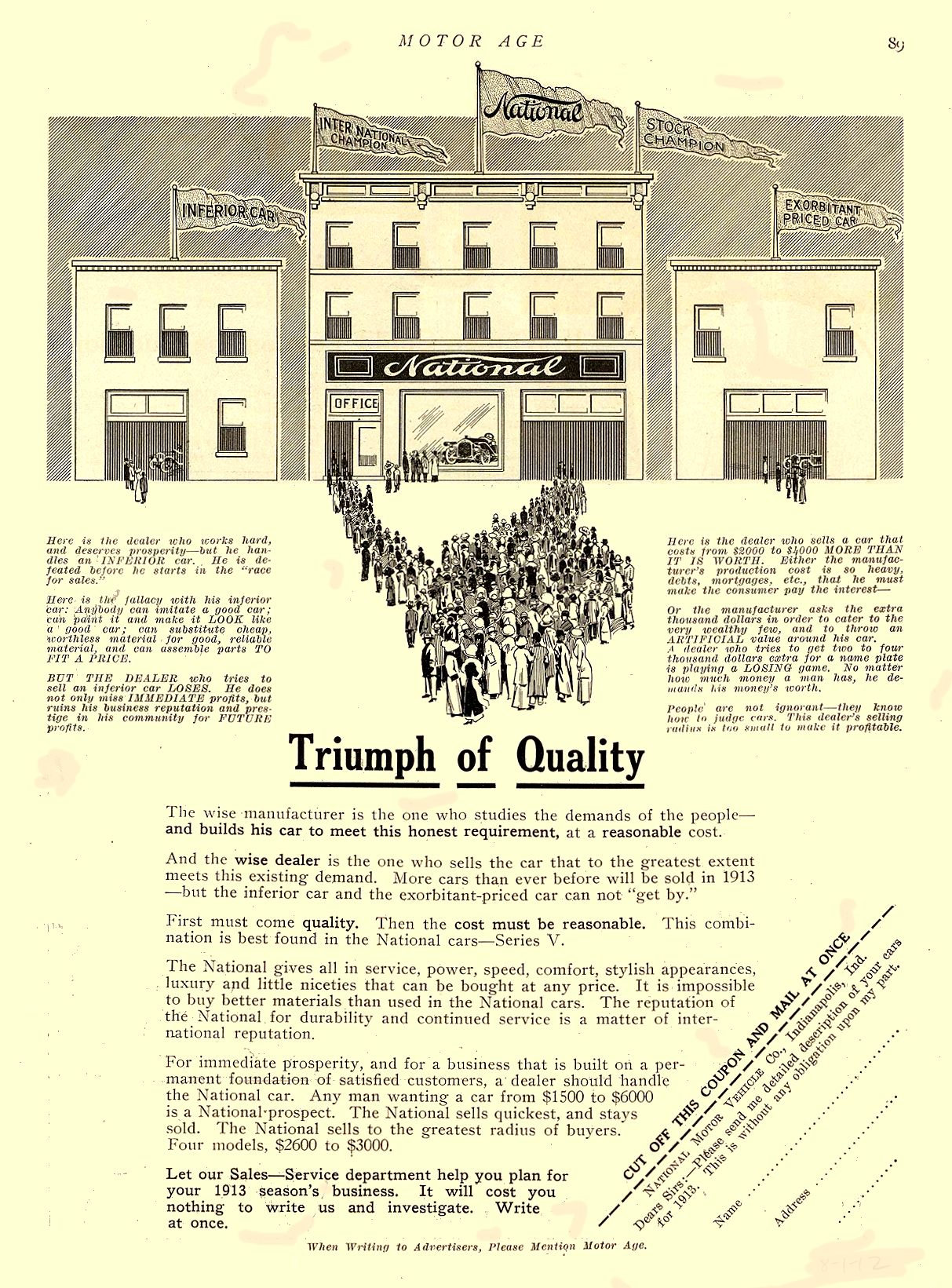 1912 8 1 NATIONAL National Triumph of Quality NATIONAL MOTOR VEHICLE CO. Indianapolis, IND MOTOR AGE August 1, 1912 8.25″x11.5″ page 89