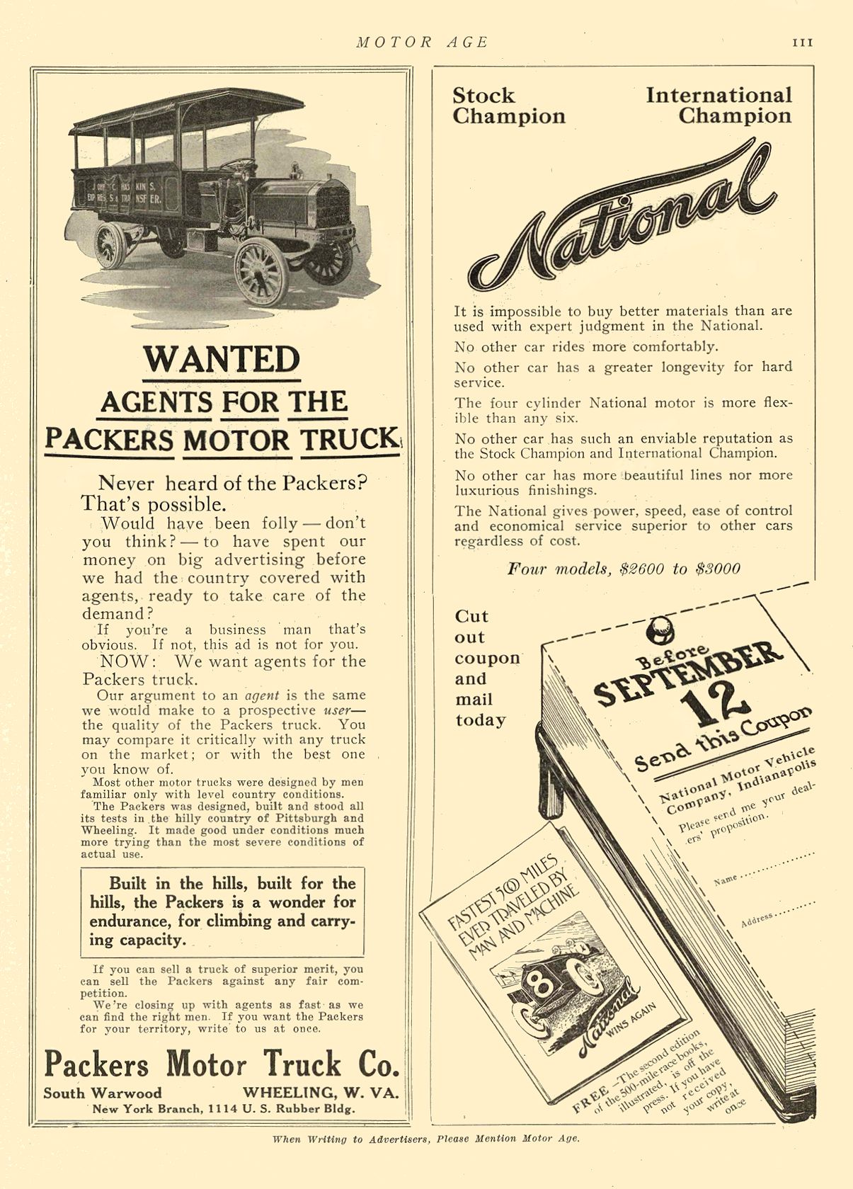 1912 9 5 NATIONAL National Before SEPTEMBER 12 National Motor Vehicle Company Indianapolis, IND MOTOR AGE September 5, 1912 8.5″x11.5″ page 111
