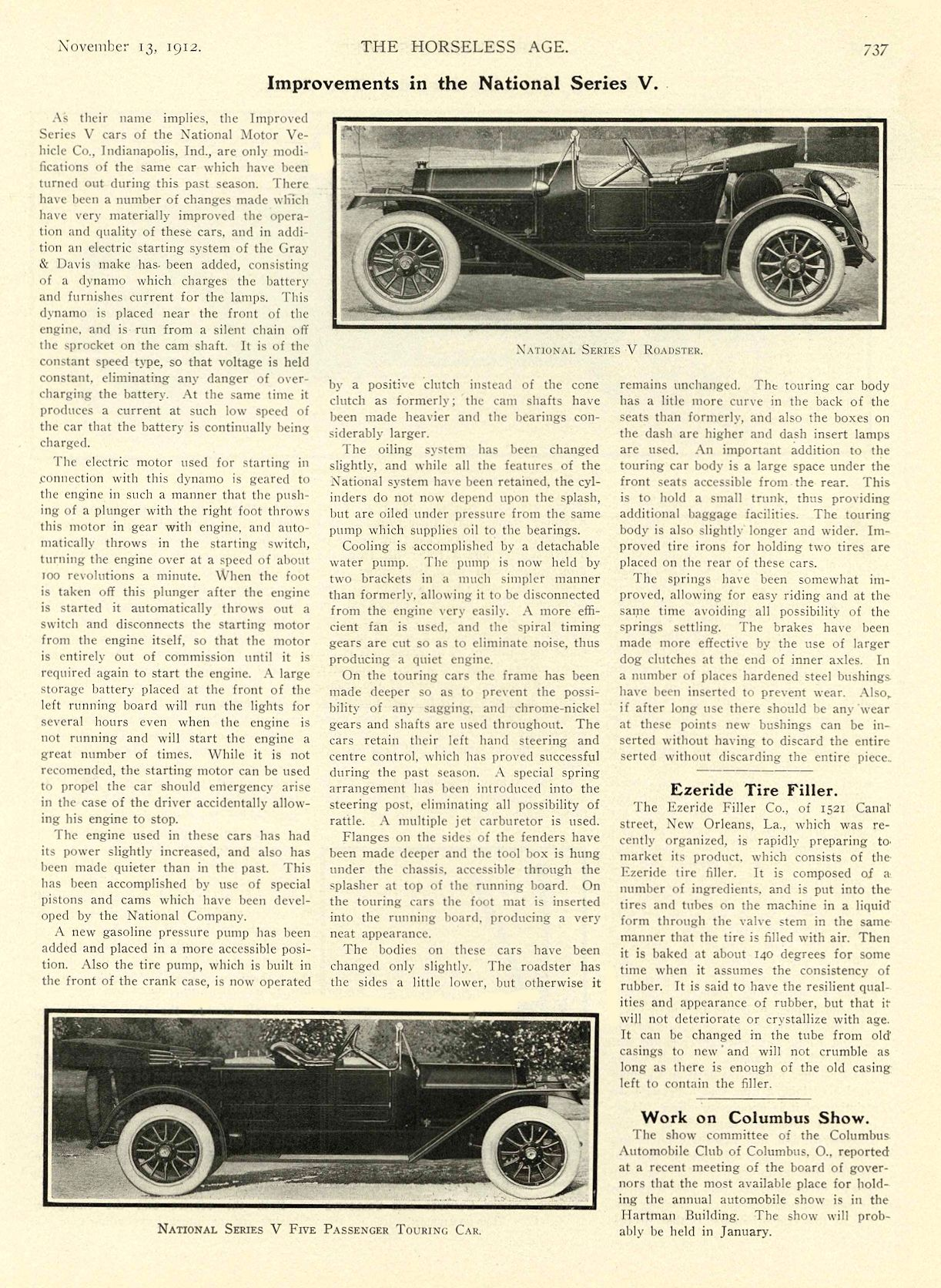 1912 11 13 NATIONAL Article Improvements in the National Series V National Motor Vehicle Co. Indianapolis, IND THE HORSELESS AGE November 13, 1912 8.5″x12″ page 737