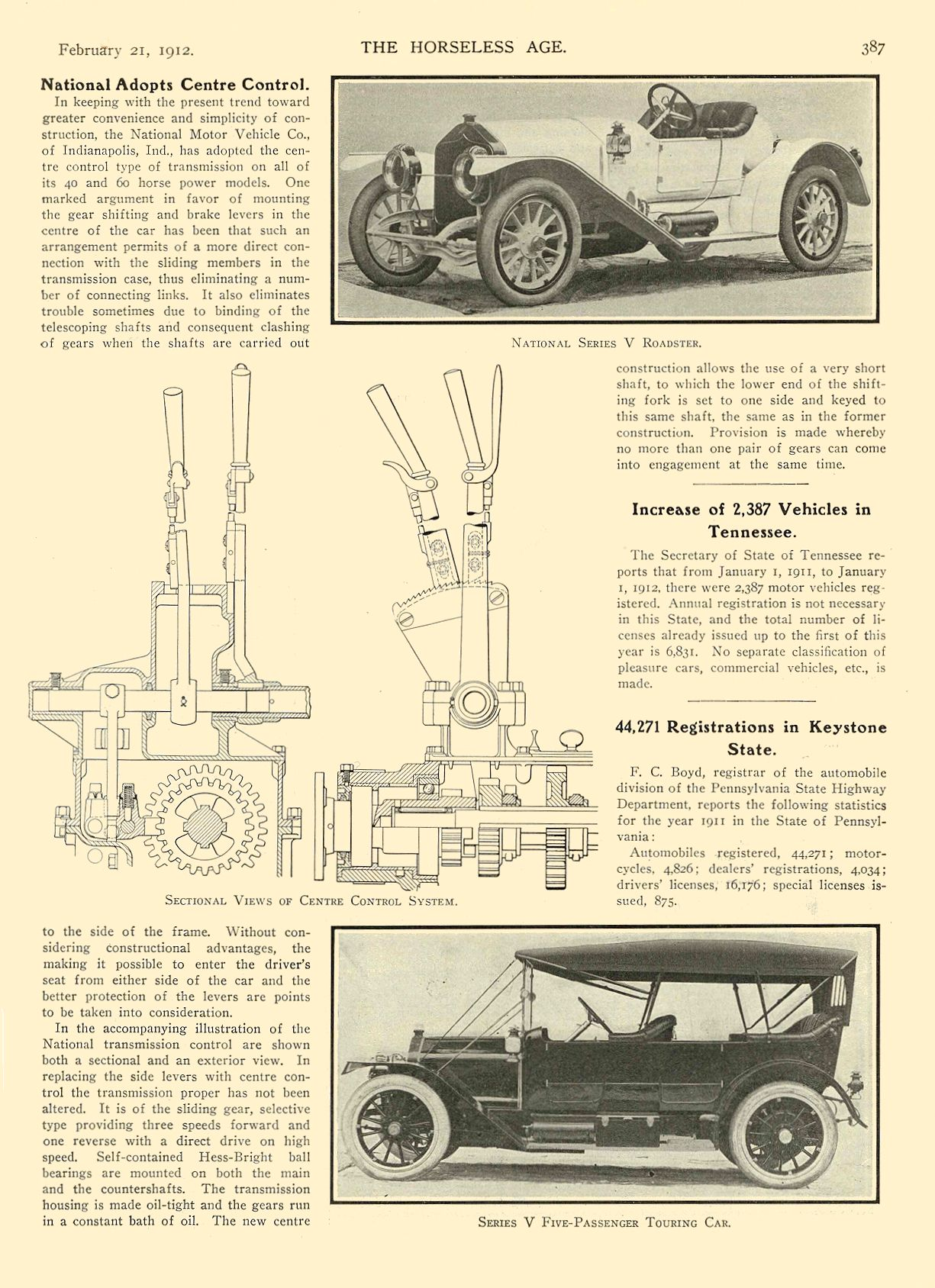 1912 2 21 NATIONAL Article National Adopts Centre Control National MOTOR VEHICLE CO. Indianapolis, IND THE HORSELESS AGE February 21, 1912 8.25″x12″ page 387