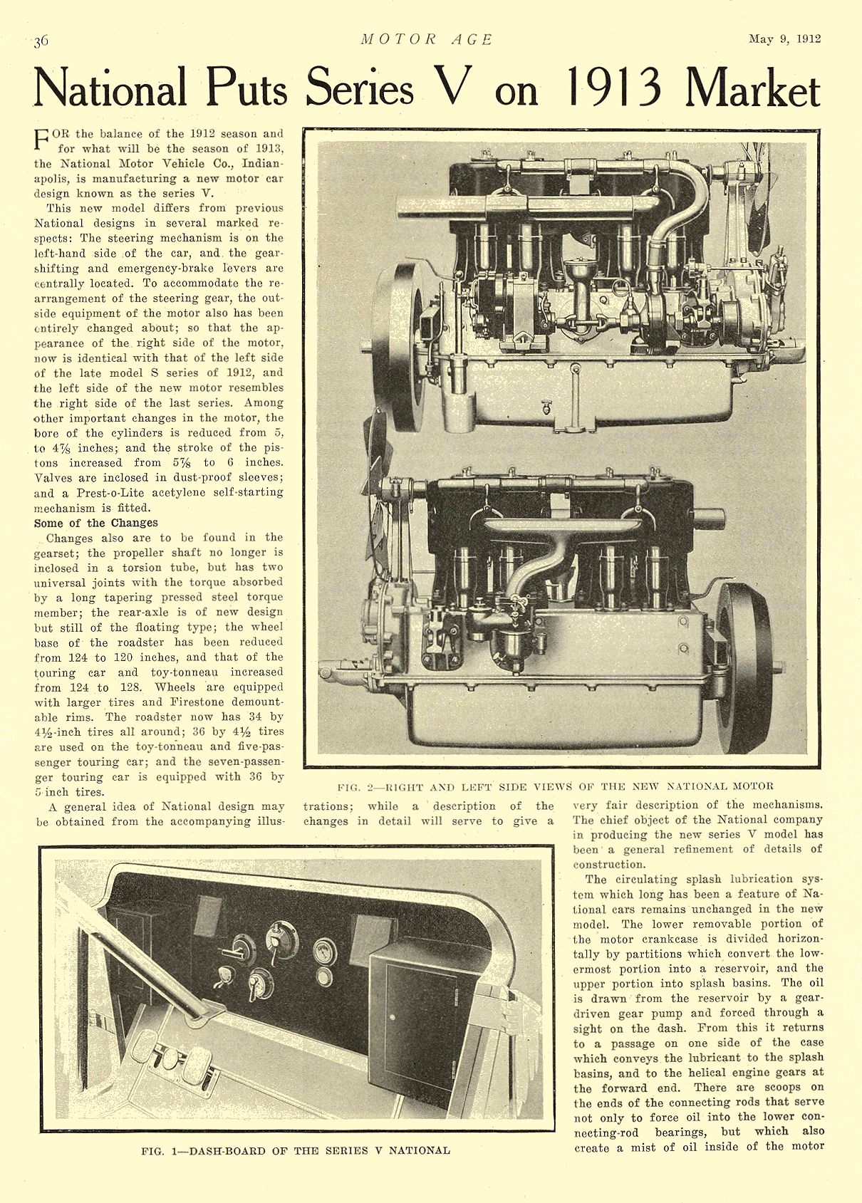 1912 5 9 NATIONAL Article National Puts Series V on 1913 Market National Motor Vehicle Co. Indianapolis, IND MOTOR AGE May 9, 1912 8.5″x12″ page 36