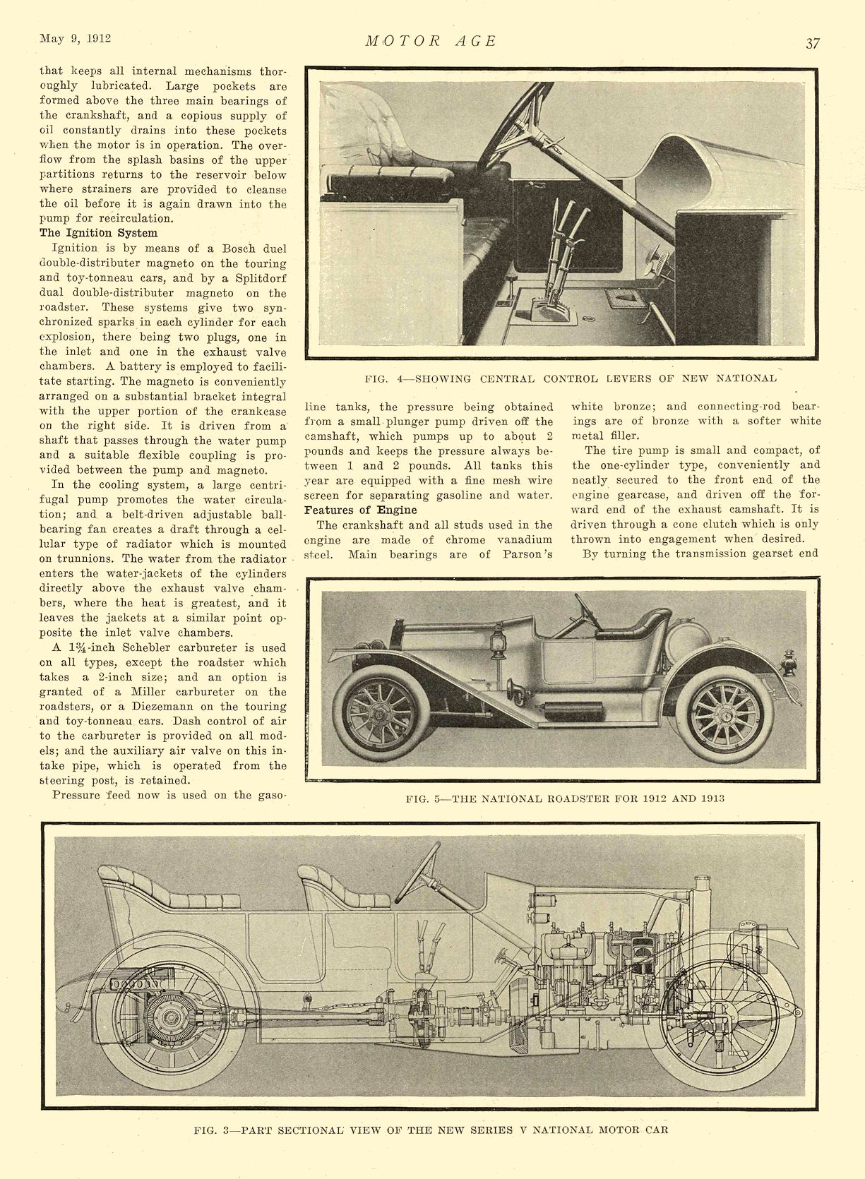 1912 5 9 NATIONAL Article National Puts Series V on 1913 Market National Motor Vehicle Co. Indianapolis, IND MOTOR AGE May 9, 1912 8.5″x12″ page 37