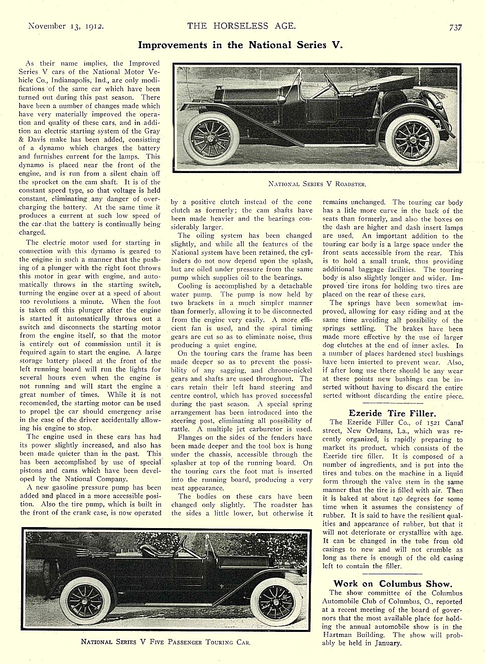 1912 11 13 NATIONAL Article Improvements in the National Series V THE HORSELESS AGE November 13, 1912 8.5″x11.5″ University of Minnesota Library page 737