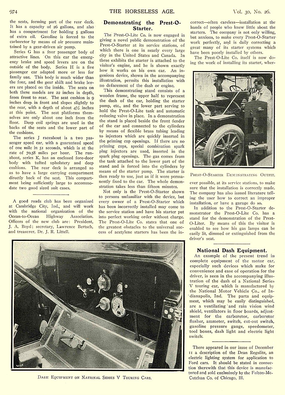 1912 12 25 NATIONAL Article National Dash Equipment THE HORSELESS AGE December 25, 1912 8.5″x11.5″ University of Minnesota Library page 974