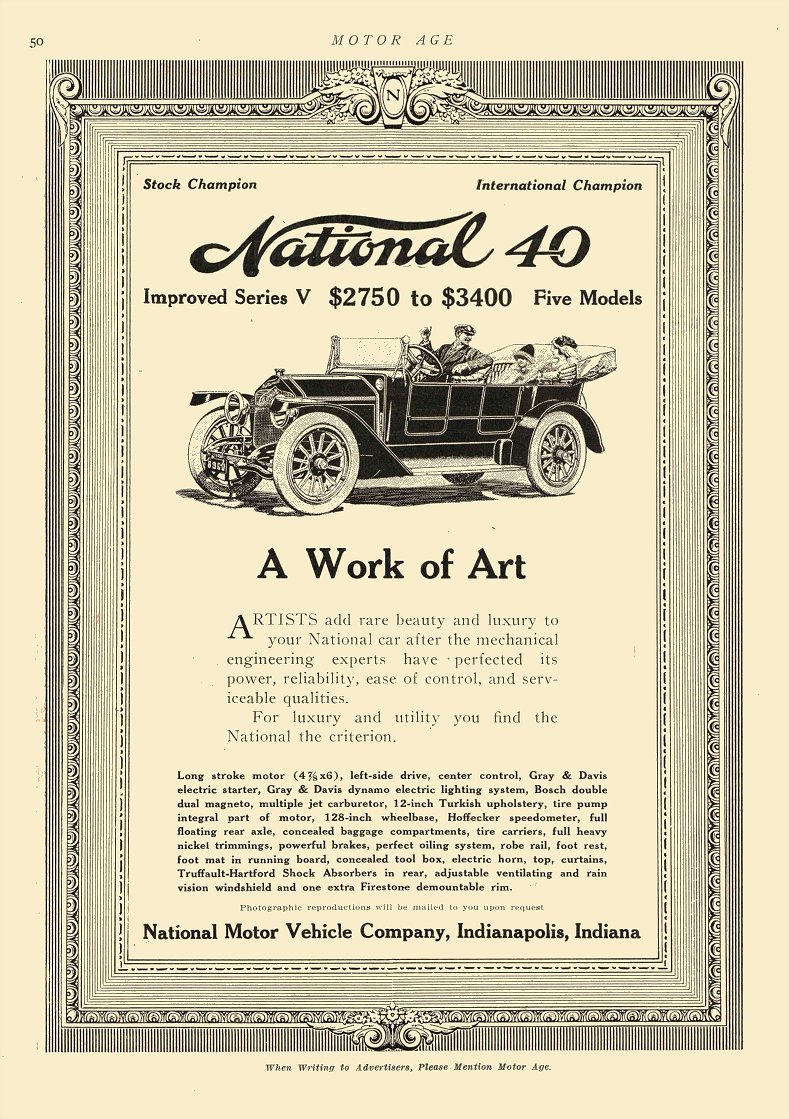 1912 12 19 National Improved Series V $2750 to $3400 $64,428 to $79,657 in 2012 MOTOR AGE Dec 19, 1912 8.5″x12″ page 50