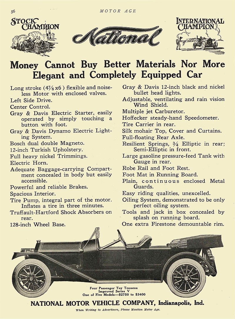 1912 12 26 NATIONAL Money Cannot Buy Better Materials National Motor Vehicle Co Indianapolis, IND MOTOR AGE Dec 26, 1912 8.5″x11″ page 56