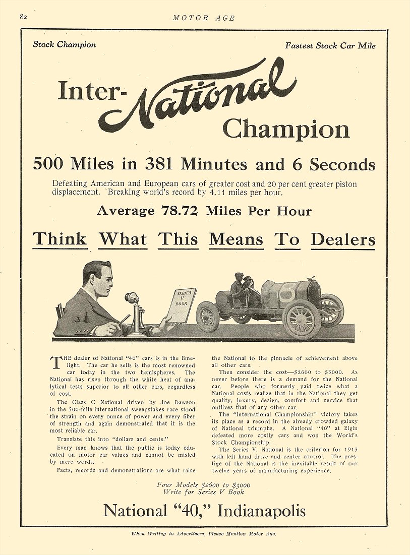 """1912 6 13 NATIONAL Inter-NATIONAL Champion National """"40,"""" Indianapolis MOTOR AGE June 13, 1912 8.5″x12″ page 82"""
