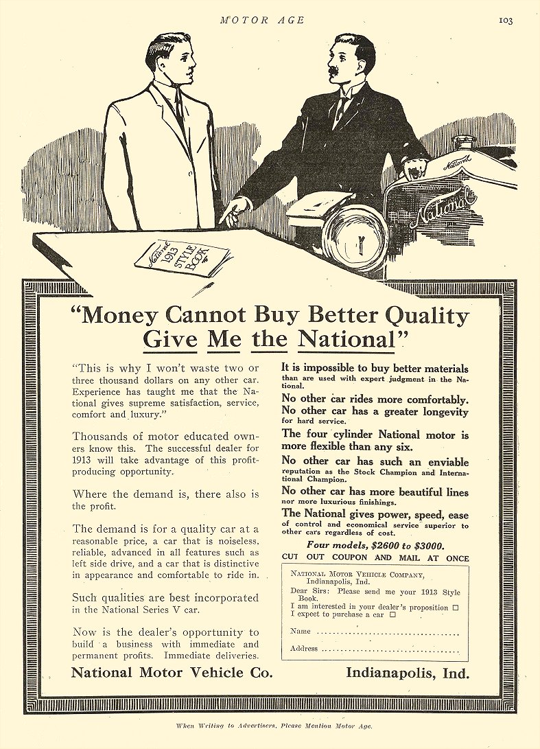 1912 8 22 NATIONAL Money Cannot Buy Better Quality National Motor Vehicle Co Indianapolis, IND MOTOR AGE Aug 22, 1922 8.5″x12″ page 103