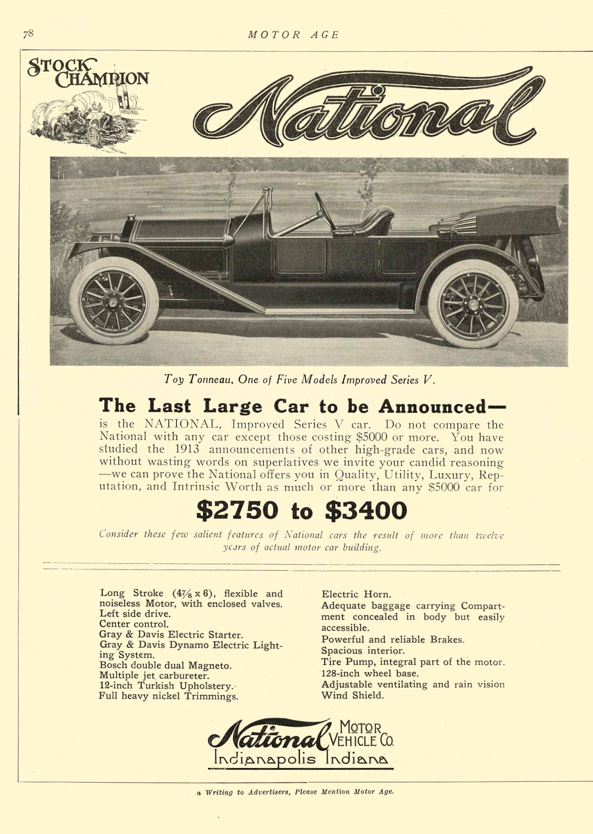 1912 12 ca. 1913 NATIONAL The Last Large Car to be Announced– National MOTOR VEHICLE CO. Indianapolis, IND MOTOR AGE ca. December 1912 8.5″x12″ page 78