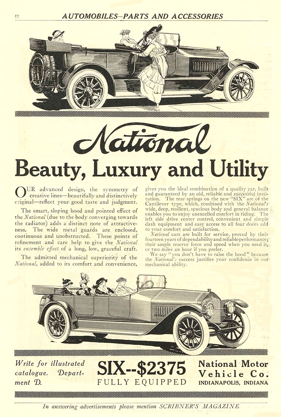 1912 NATIONAL National Beauty, Luxury and Utility SIX–$2375 FULLY EQUIPPED National Motor Vehicle Co. Indianapolis, IND SCRIBNER'S MAGAZINE 1912 6.5″x9.75″ page 82