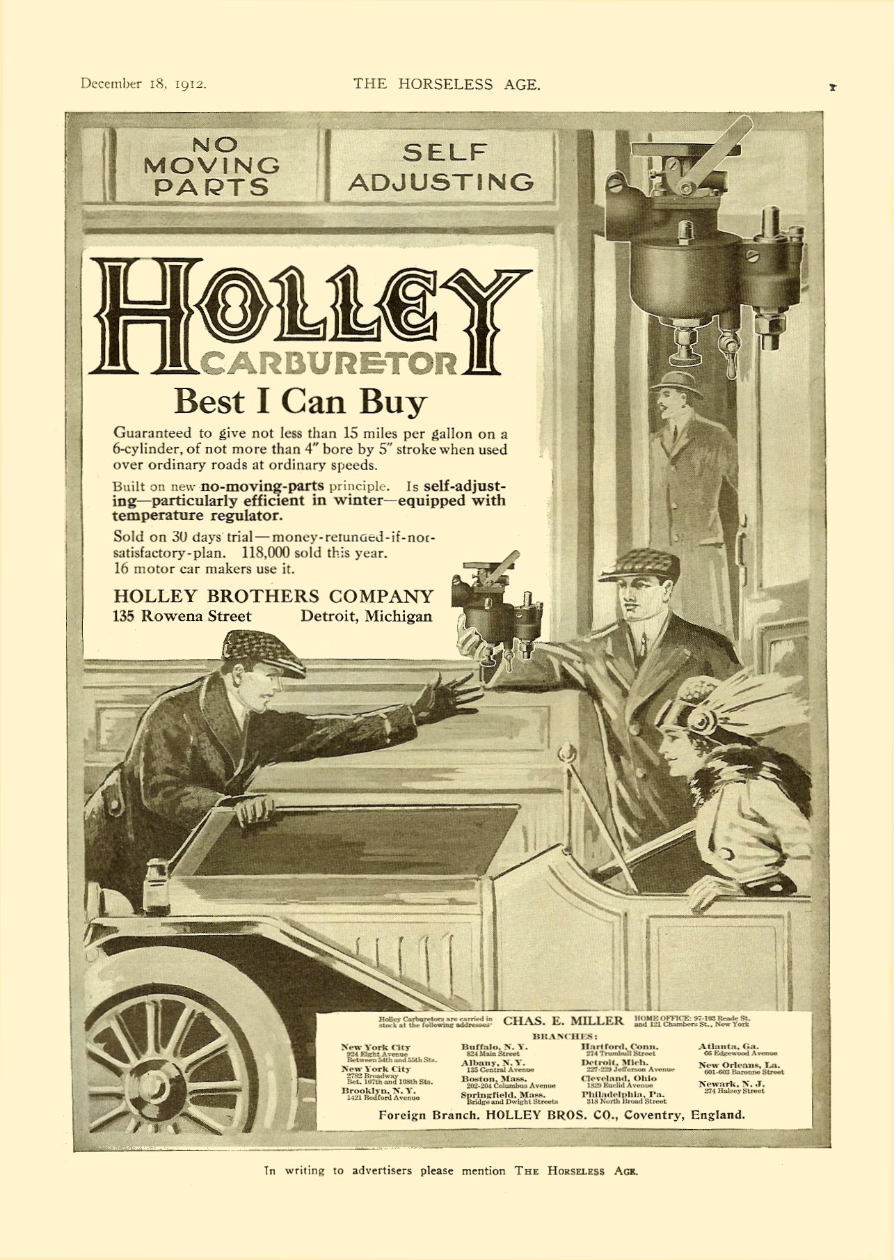 1912 12 18 1913 HOLLEY Carburetor NO MOVING PARTS   SELF ADJUSTING Holley Brothers Company DETROIT, MICHIGAN THE HORSELESS AGE Vol. 30, No. 25 December 18, 1912 9″x12″ page 1