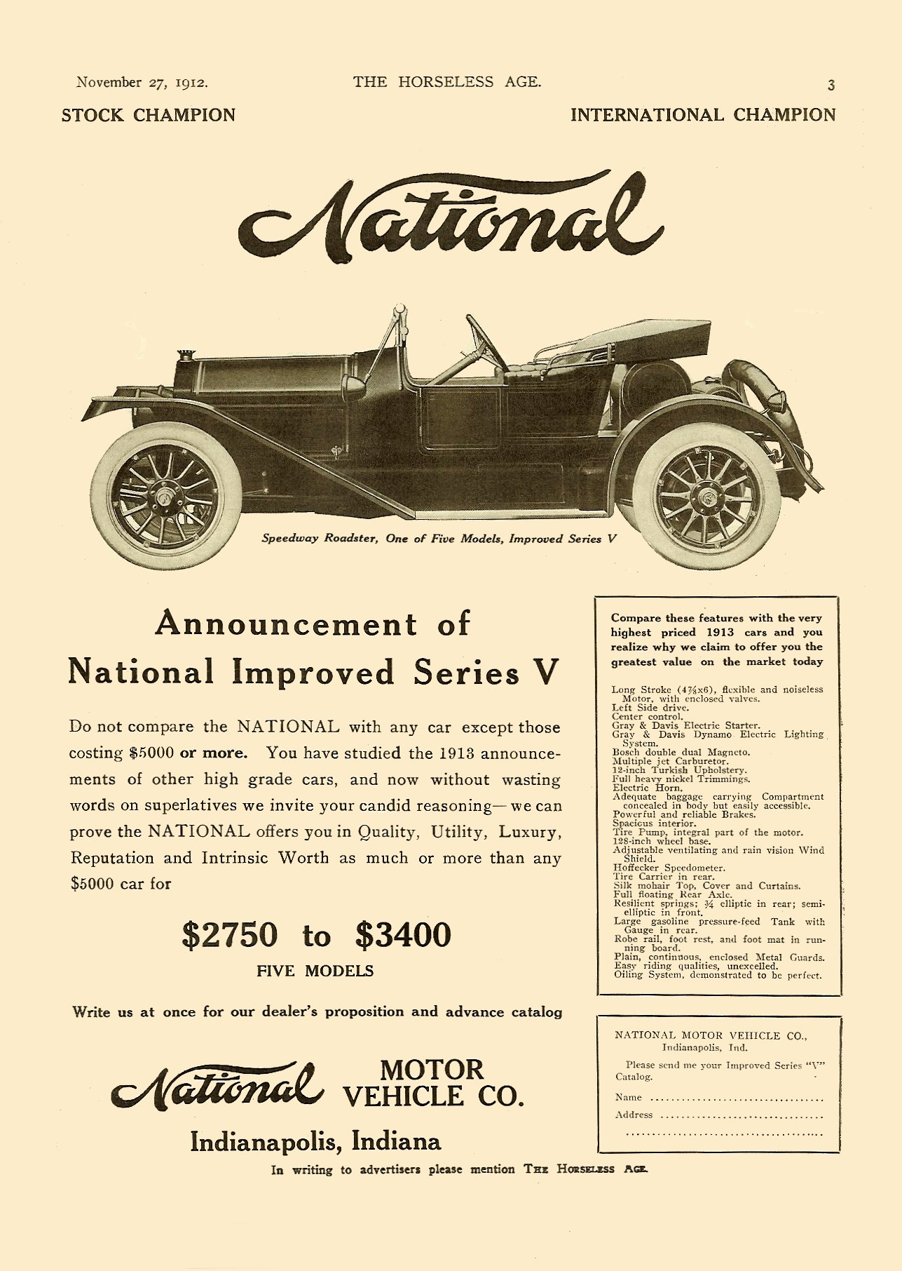 1913 11 27 NATIONAL Improved Series V THE HORSELESS AGE Vol. 30, No. 22 November 27, 1912 9″x12″ page 3