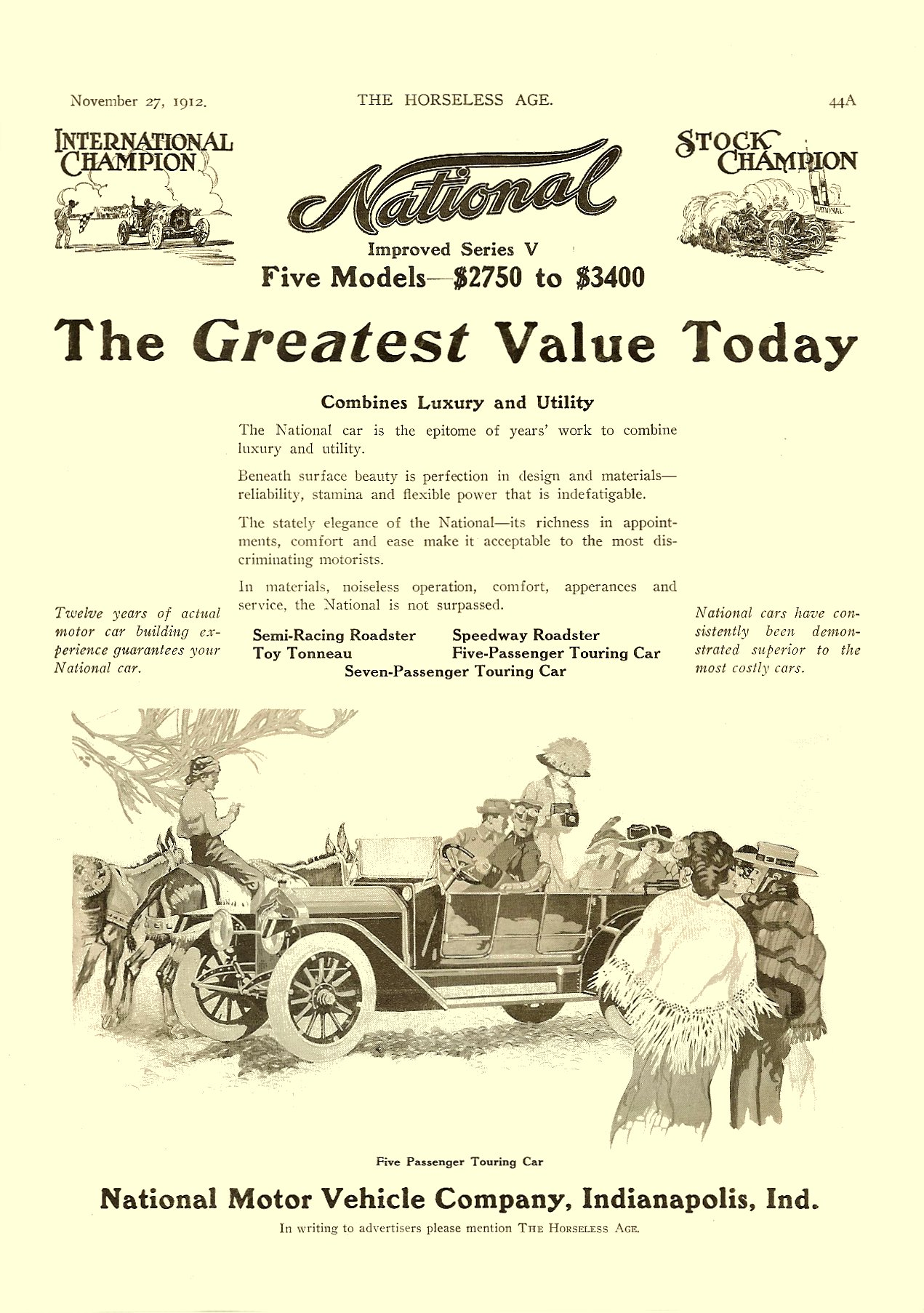 1913 11 27 NATIONAL Improved Series V Fives Models – $2750 to $3400 THE HORSELESS AGE Vol. 30, No. 22 November 27, 1912 9″x12″ page 44A