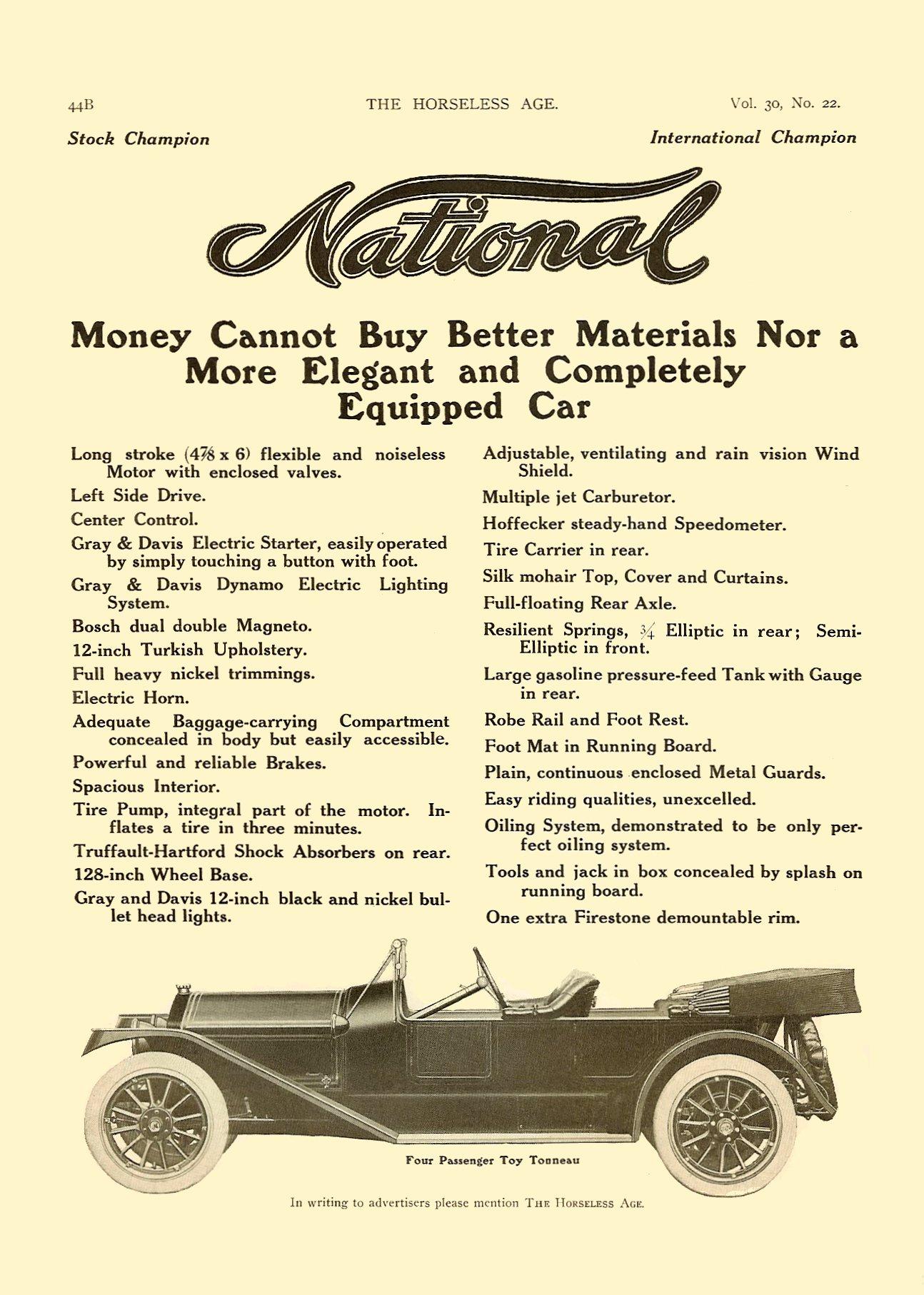 1913 11 27 NATIONAL Improved Series V Fives Models – $2750 to $3400 THE HORSELESS AGE Vol. 30, No. 22 November 27, 1912 9″x12″ page 44B