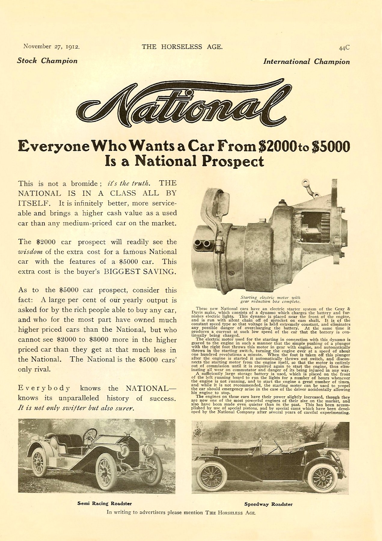1913 11 27 NATIONAL Improved Series V Fives Models – $2750 to $3400 THE HORSELESS AGE Vol. 30, No. 22 November 27, 1912 9″x12″ page 44C