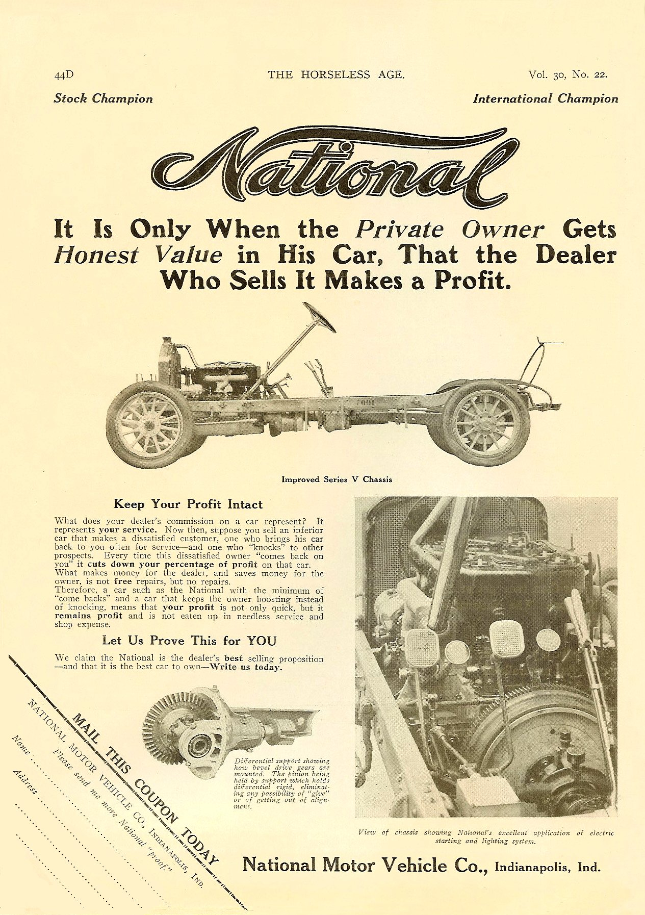 1913 11 27 NATIONAL National Improved Series V Fives Models – $2750 to $3400 THE HORSELESS AGE Vol. 30, No. 22 November 27, 1912 9″x12″ page 44D