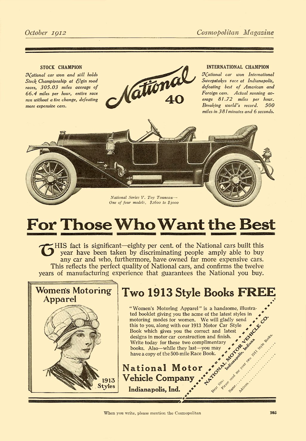 1912 10 National 40 For Those Who Want the Best October 1912 Cosmopolitan magazine 6.75″x9.75″ page 105