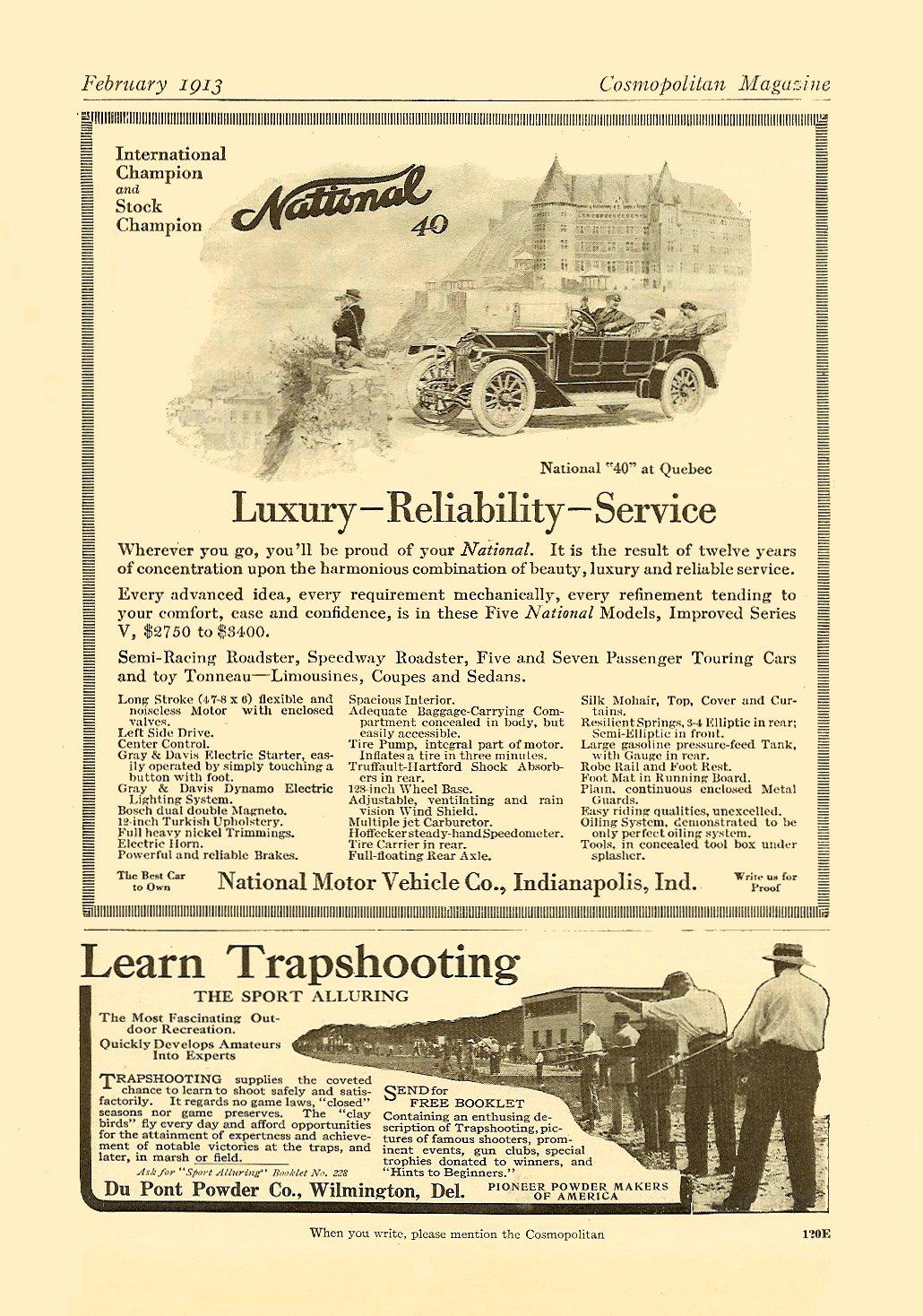 1913 2 NATIONAL National 40 Luxury-Reliability-Service February 1913 Cosmopolitan Magazine 6.75″x9.75″ page 120E