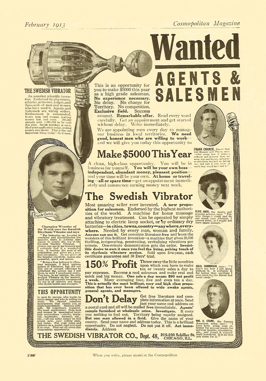 1913 2 WANTED Agents & Salesmen The Swedish Vibrator February 1913 Cosmopolitan Magazine 6.75″x9.75″ page 120F