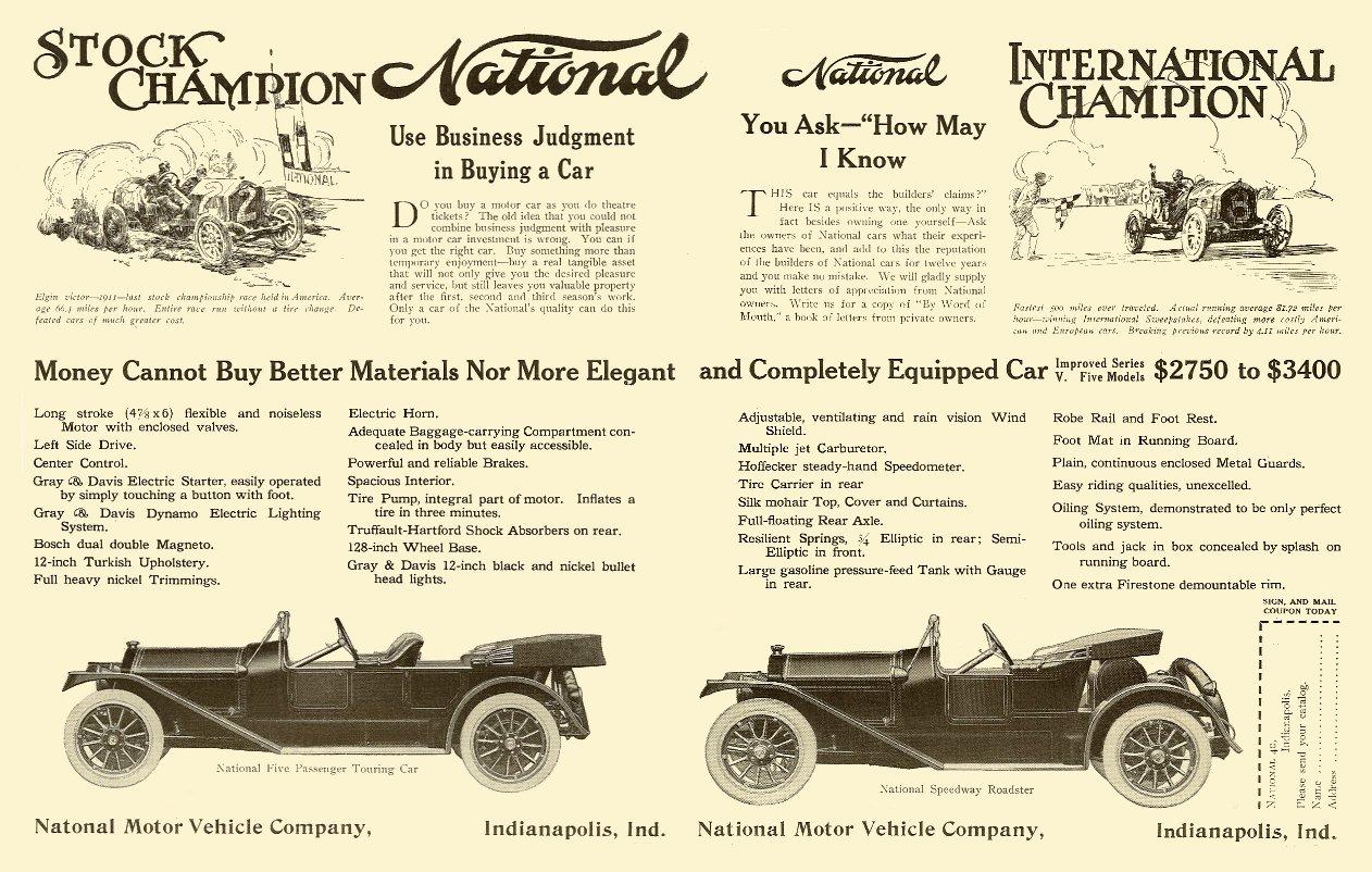 """1913 1 National """"Stock Champion – International Champion"""" January 1913 magazine ad 16.5″x10″"""