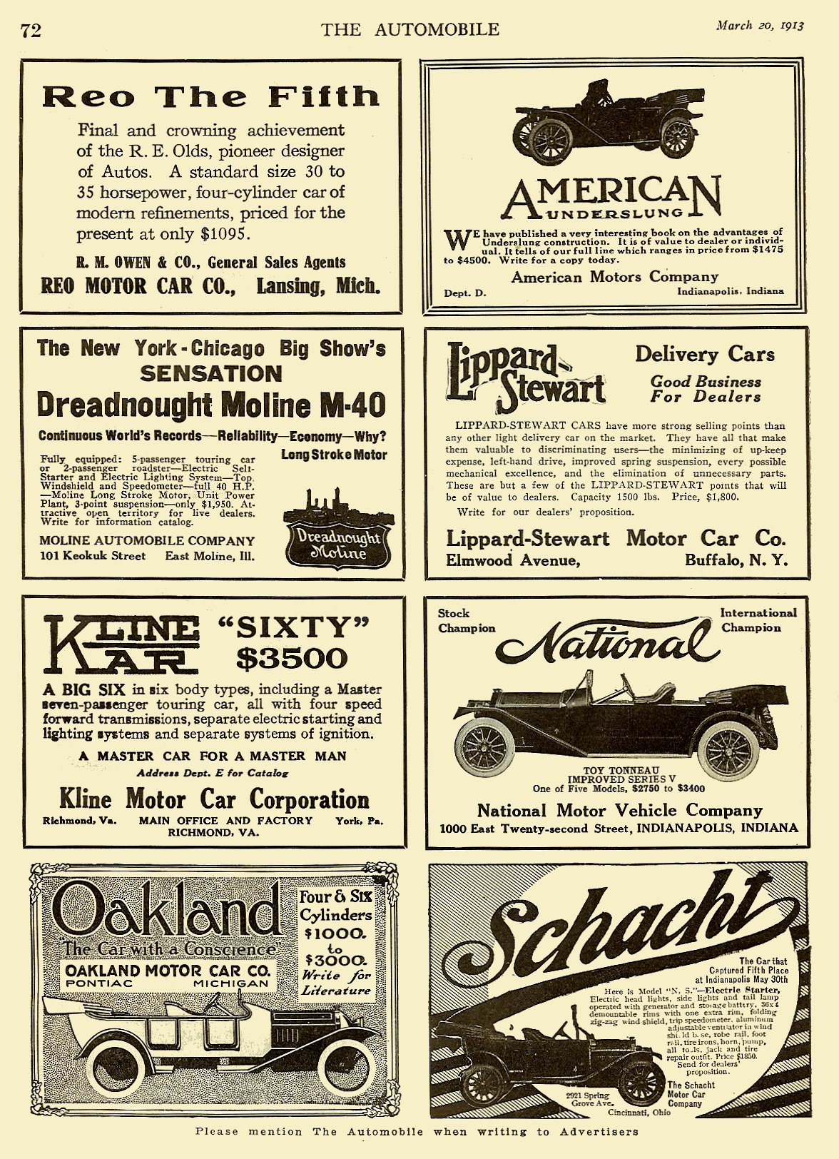 1913 3 20 NATIONAL THE AUTOMOBILE Vol. 28 No. 12 March 20, 1913 9″x12″ page 72