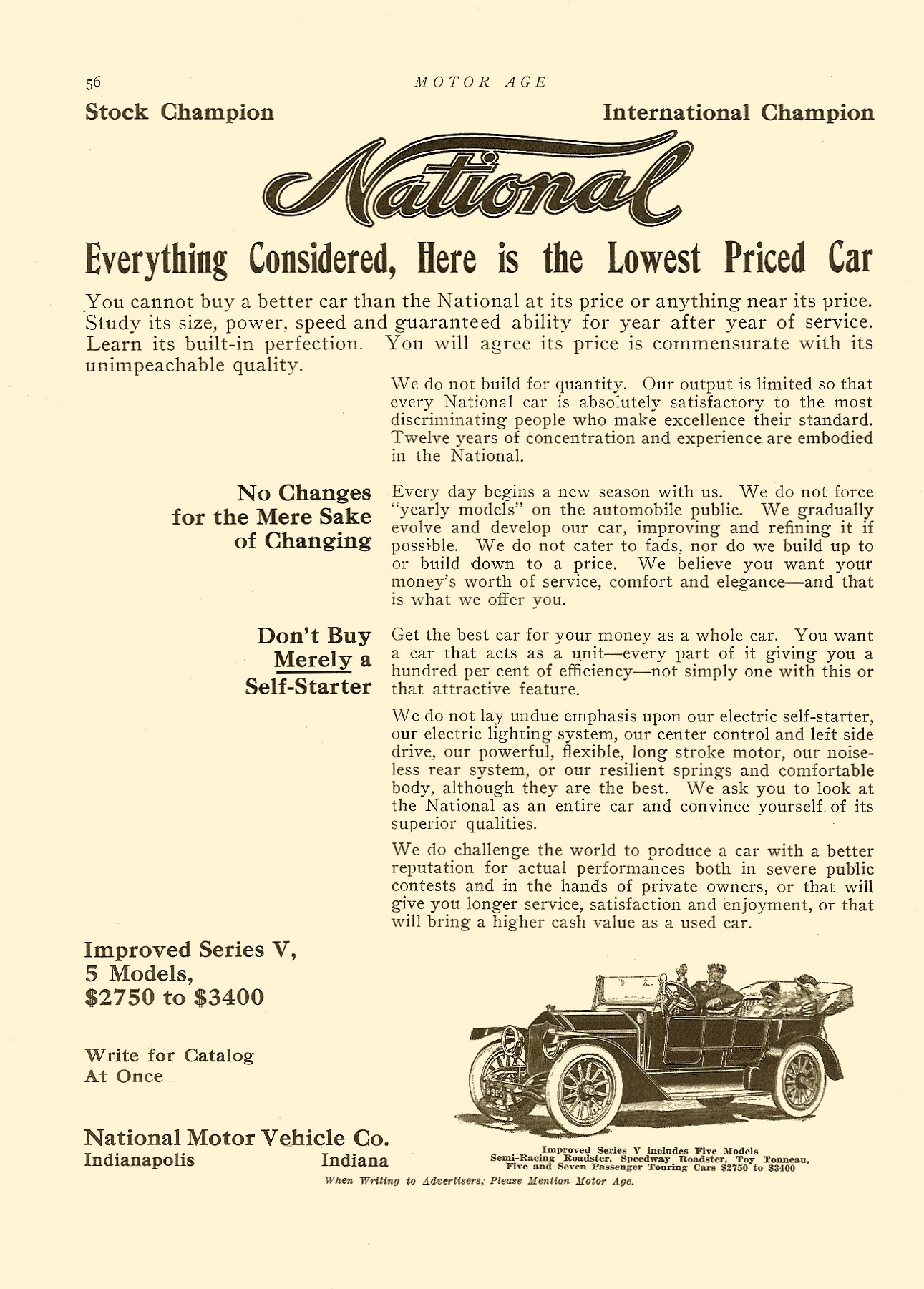 1913 NATIONAL Improved Series V, 5 Models Everything Considered, Here is the Lowest Priced Car 1913 Motor Age magazine 9″x12″ page 56
