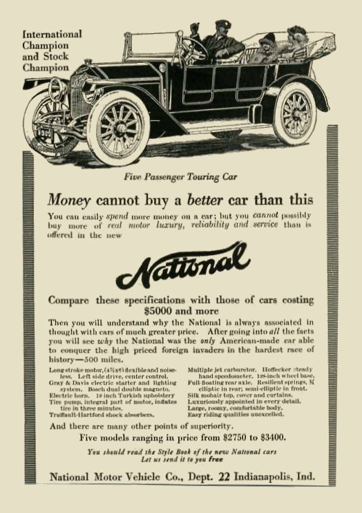 """ca. 1913 NATIONAL National """"Money cannot buy a better car than this"""" magazine ad"""