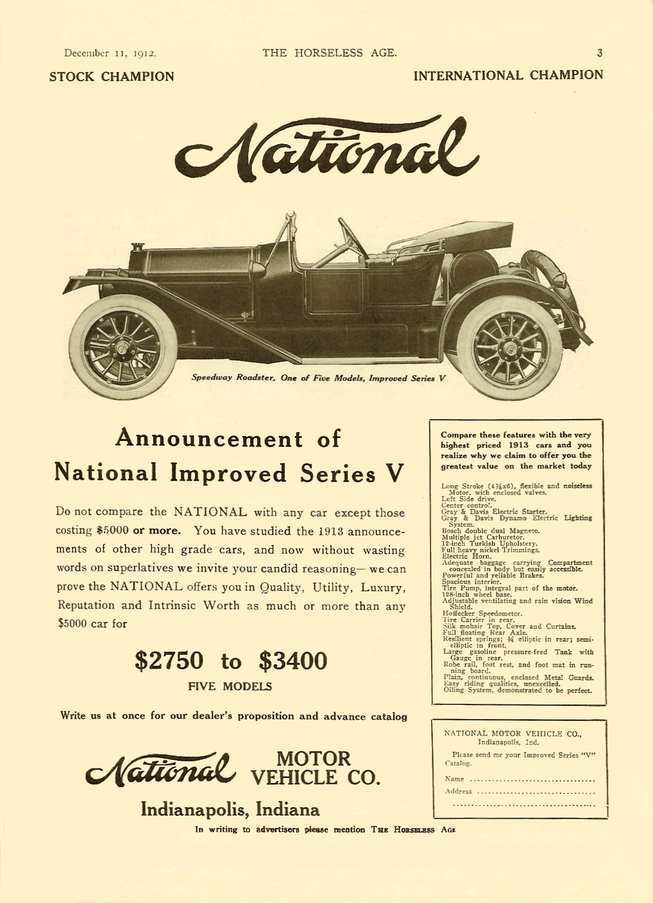 1913 12 11 NATIONAL Announcement of Improved Series V THE HORSELESS AGE Dec 11, 1912 Vol. 30 No. 24 page 3 9″x12″
