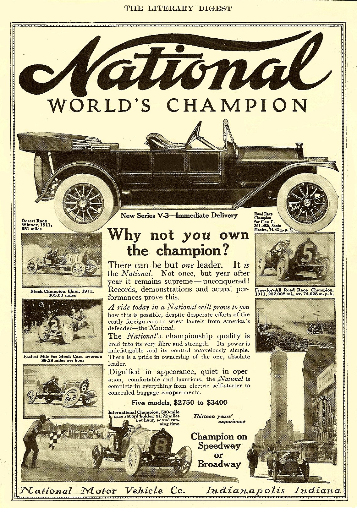 1913 NATIONAL World's Champion THE LITERARY DIGEST 7.75″x10.75″