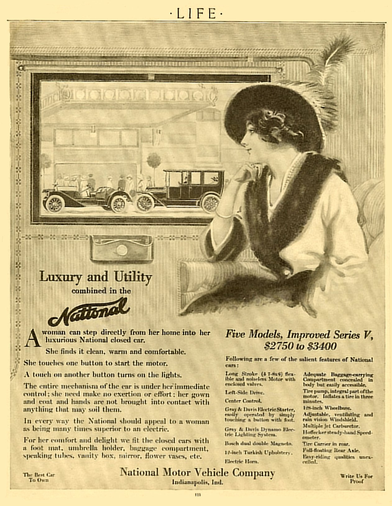 1913 1 9 NATIONAL Luxury and Utility Combined in the National $2750 ($52,552 in 2005) to $3,400 ($64,974 in 2005) LIFE January 9, 1913 9″x11″ page 133