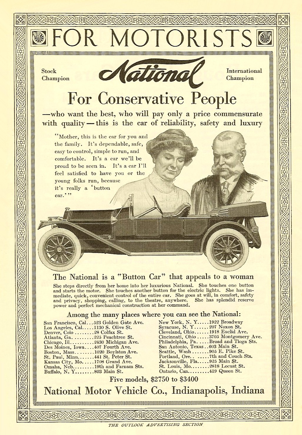 """1913 3 22 NATIONAL """"For Conservative People"""" The Outlook Advertising Section March 22, 1913 6.75″x9.75″"""
