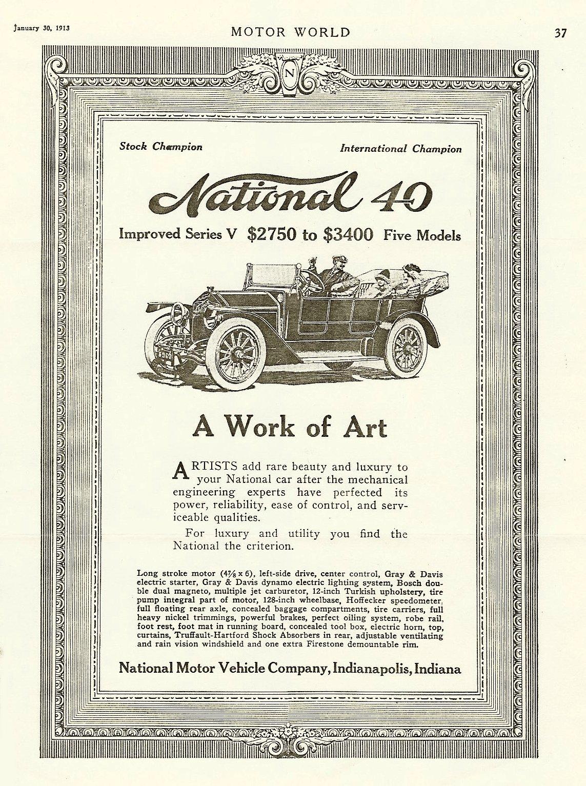 1913 1 30 NATIONAL Stock Champion International Champion MOTOR WORLD January 30, 1913 8″x11″ page 37
