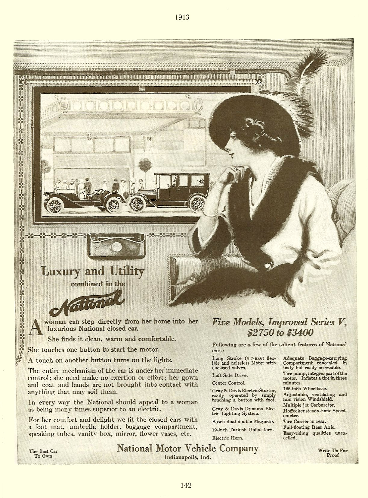 1913 NATIONAL magazine ad 1895-1930 The Wonderful World of AUTOMOBILES Edited By Joseph J Schroeder, Jr., 1971 ISBN: 0-695-80223-2 page 142