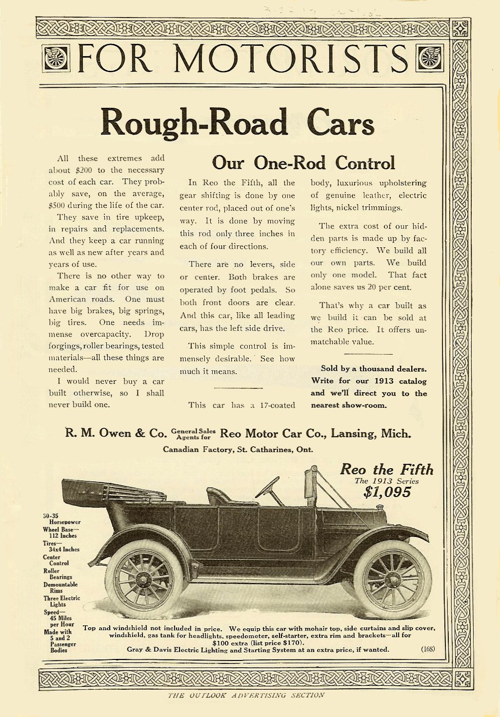 """1913 Reo Rough-Road Cars Reo the Fifth $1,095 $1,095 in 1913 = $20,925 in 2005 """"For Conservative People"""" The Outlook Advertising Section FOR MOTORISTS March 22, 1913 6.75″x9.75″"""