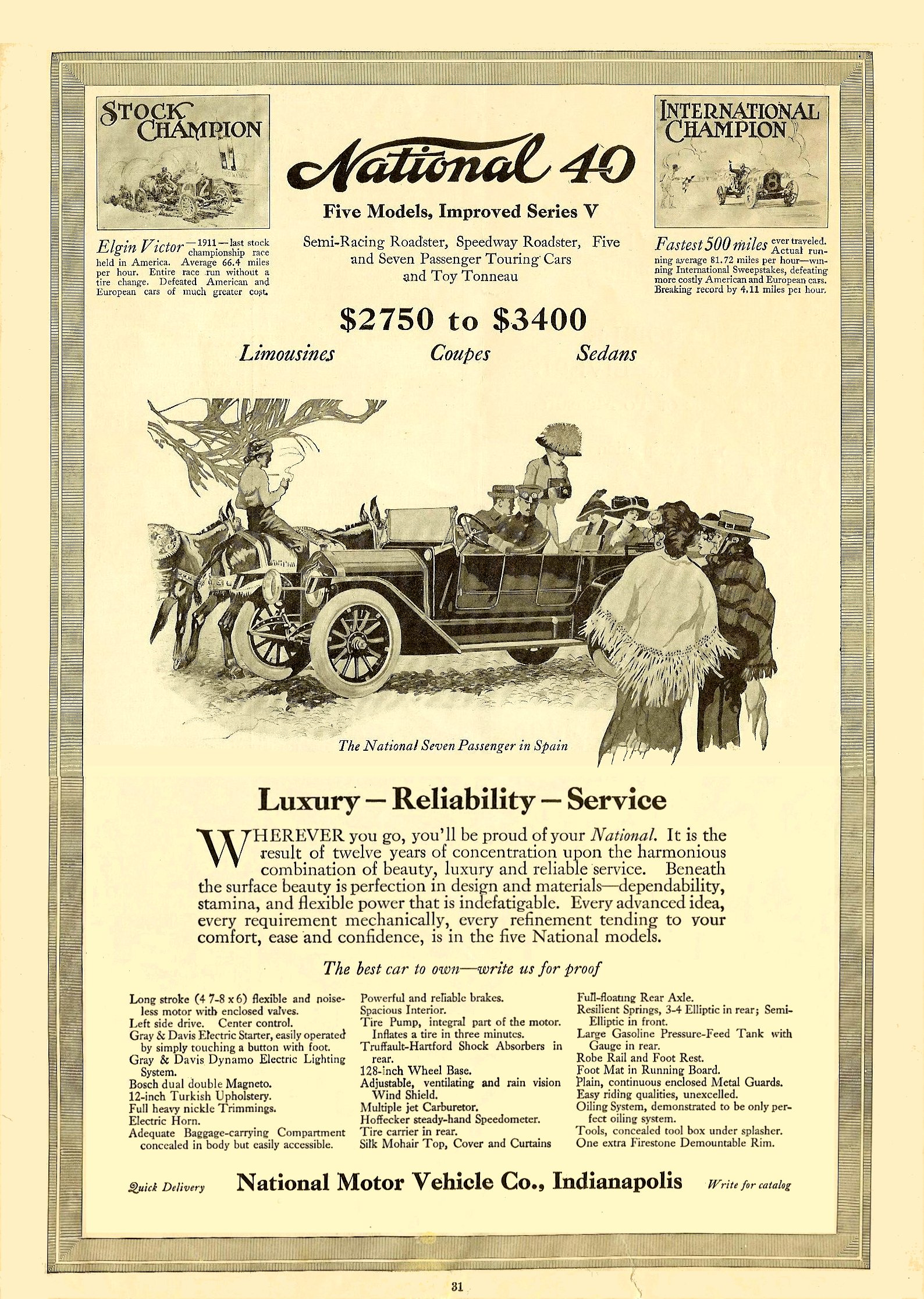 1913 1 11 NATIONAL National 40 Five Models, Improved Series V Harper's Weekly magazine January 11, 1913 9.5″x14″ page 31