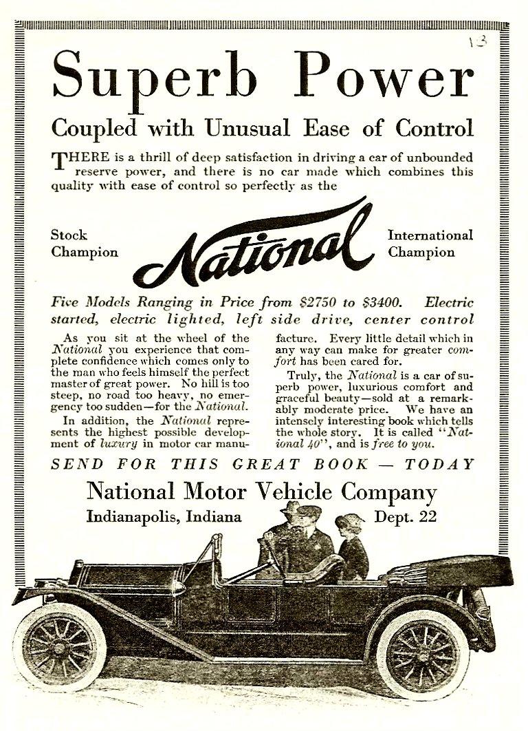 1913 NATIONAL National Superb Power Magazine ad xerox 5″x7″