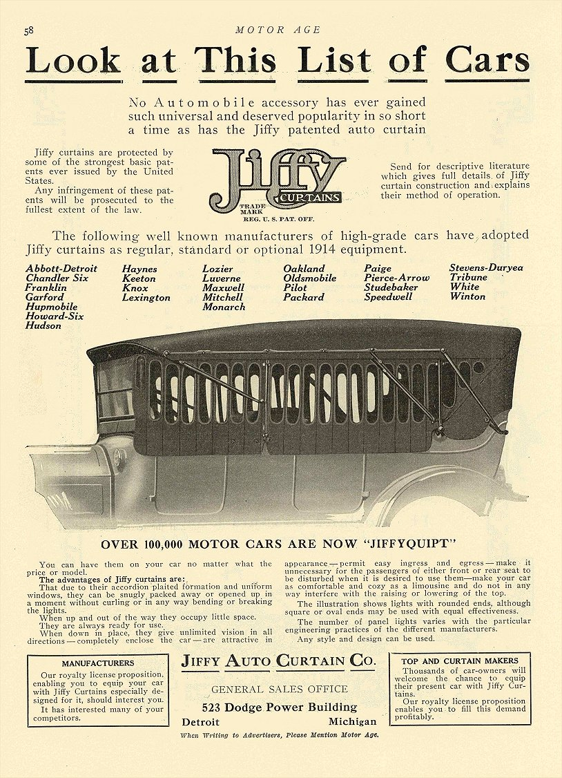 1913 9 18 JIFFY Curtains Look at This List of Cars Jiffy Auto Curtain Co Detroit, MICH MOTOR AGE September 18, 1913 8.5″x12″ page 58