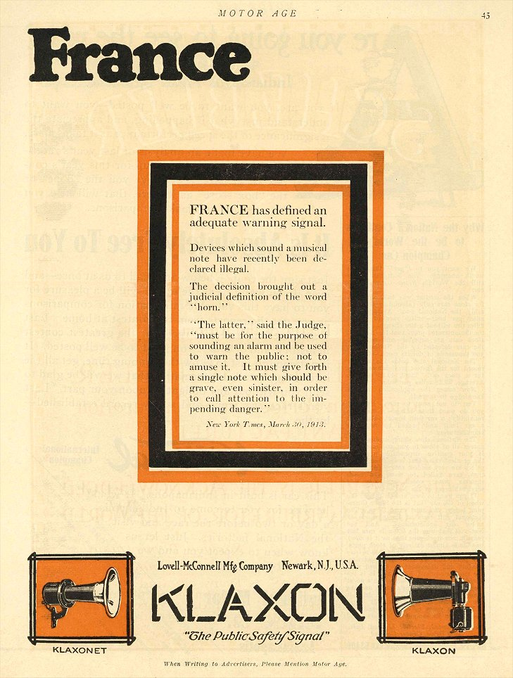 1913 5 5 France KLAXON (Horns) Motor Age May 5, 1913 8.5″x11.5″ page 45