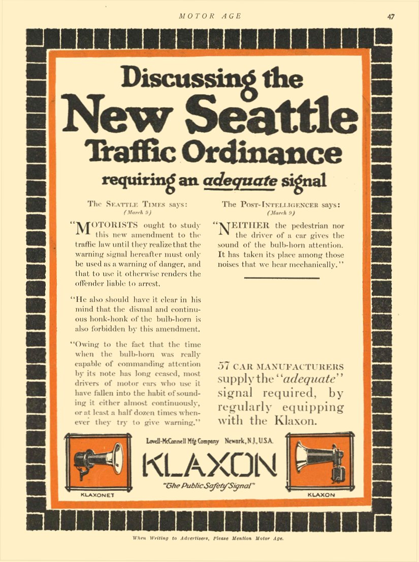 """1913 6 19 KLAXON Horns NEW SEATTLE """"The Public Safety Signal"""" Lovell-McConnell Mfg Company Newark, New Jersey MOTOR AGE June 19, 1913 8.5″x11.75″ page 47"""