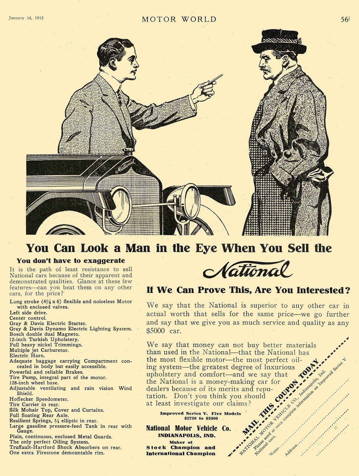 1913 1 16 NATIONAL National Motor Vehicle Co. Indianapolis, IND MOTOR WORLD January 16, 1913 8.5″x12″ page 56
