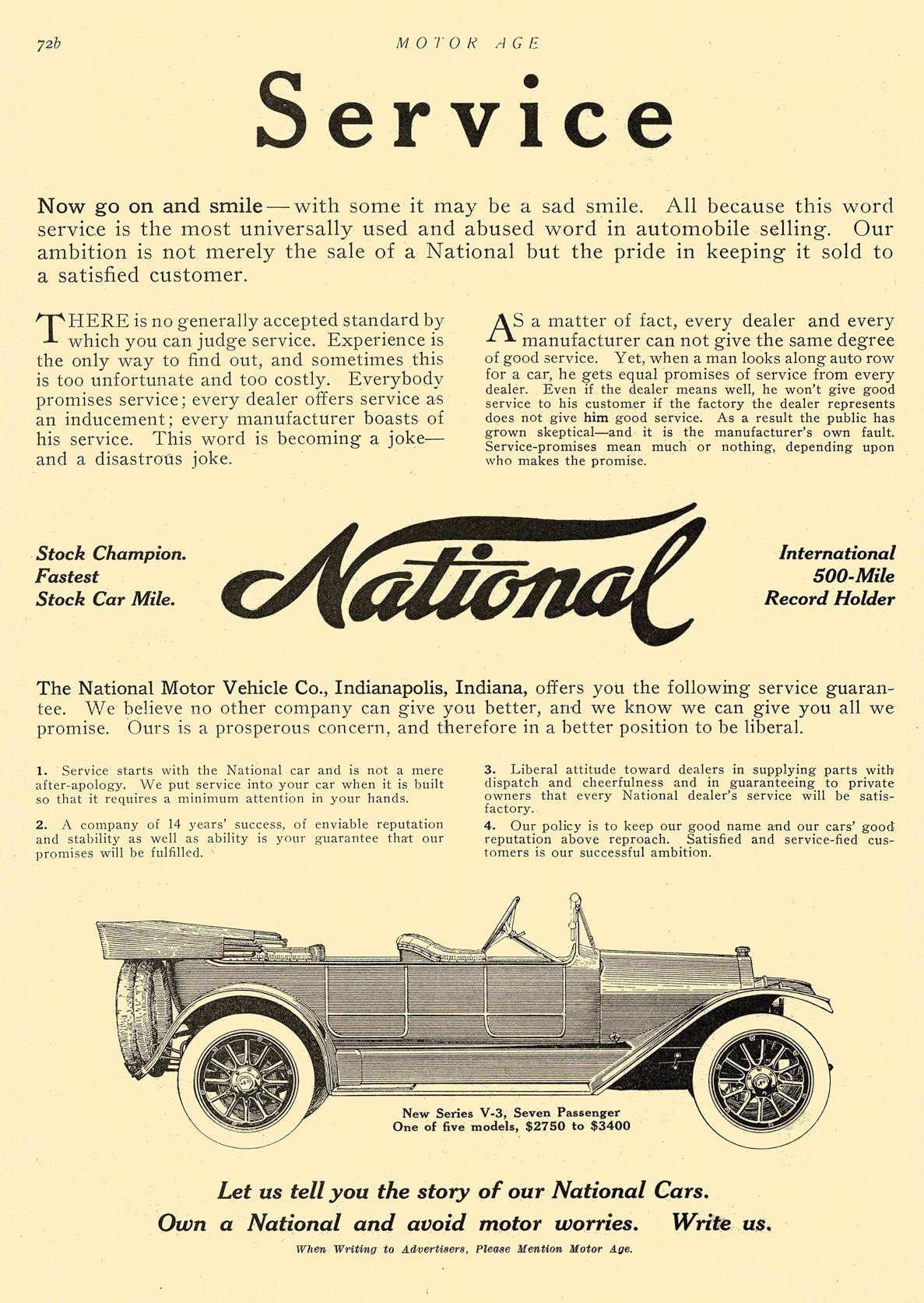 1913 11 6 NATIONAL National Service National Motor Vehicle Company Indianapolis, IND MOTOR AGE November 6, 1913 8.5″x12″ page 72b
