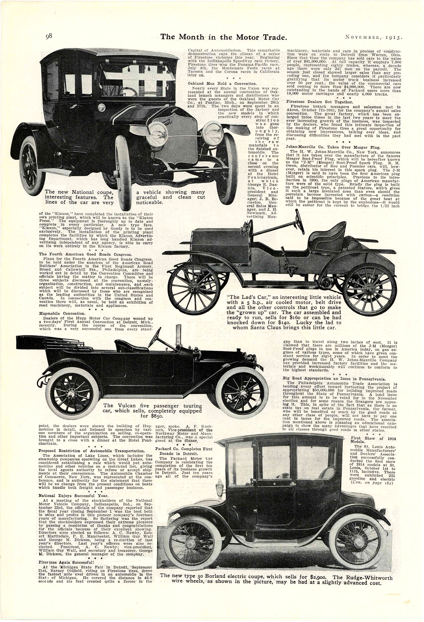 1913 11 1914 NATIONAL The new National Coupe National Enjoys Successful Year. National Motor Vehicle Company Indianapolis, IND The Month in the Motor Trade November 1913 9.25″x13.5″ page 98