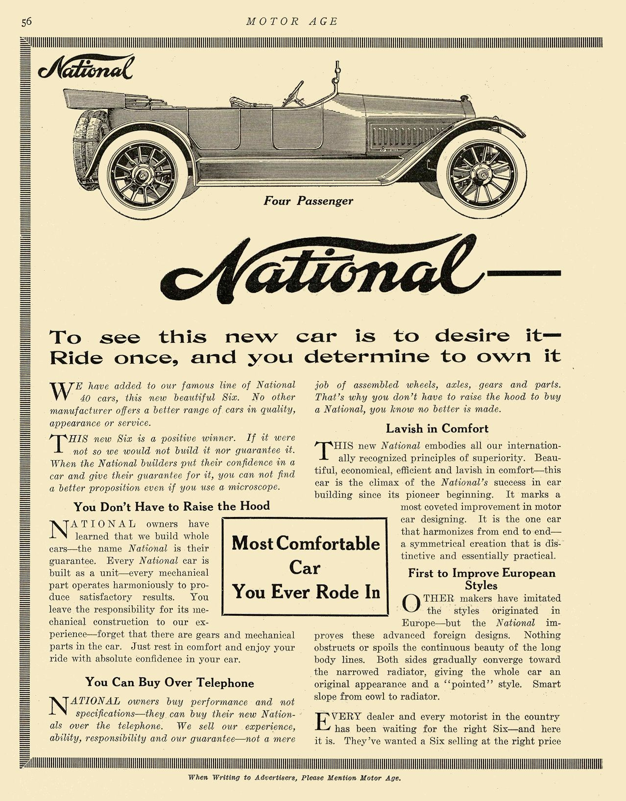"""1913 12 18 1914 NATIONAL National """"SIX"""" $2375 Most Comfortable Car You Ever Rode In National Motor Vehicle Co. Indianapolis, IND MOTOR AGE December 18, 1913 8.5″x12″ page 56"""