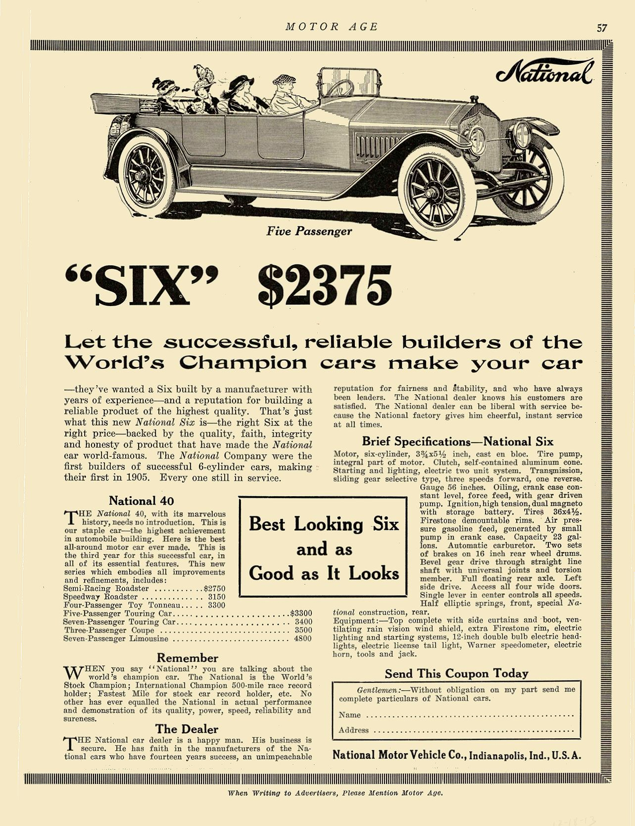 """1913 12 18 1914 NATIONAL National """"SIX"""" $2375 Best Looking Six and as Good as It Looks National Motor Vehicle Co. Indianapolis, IND MOTOR AGE December 18, 1913 8.5″x12″ page 57"""