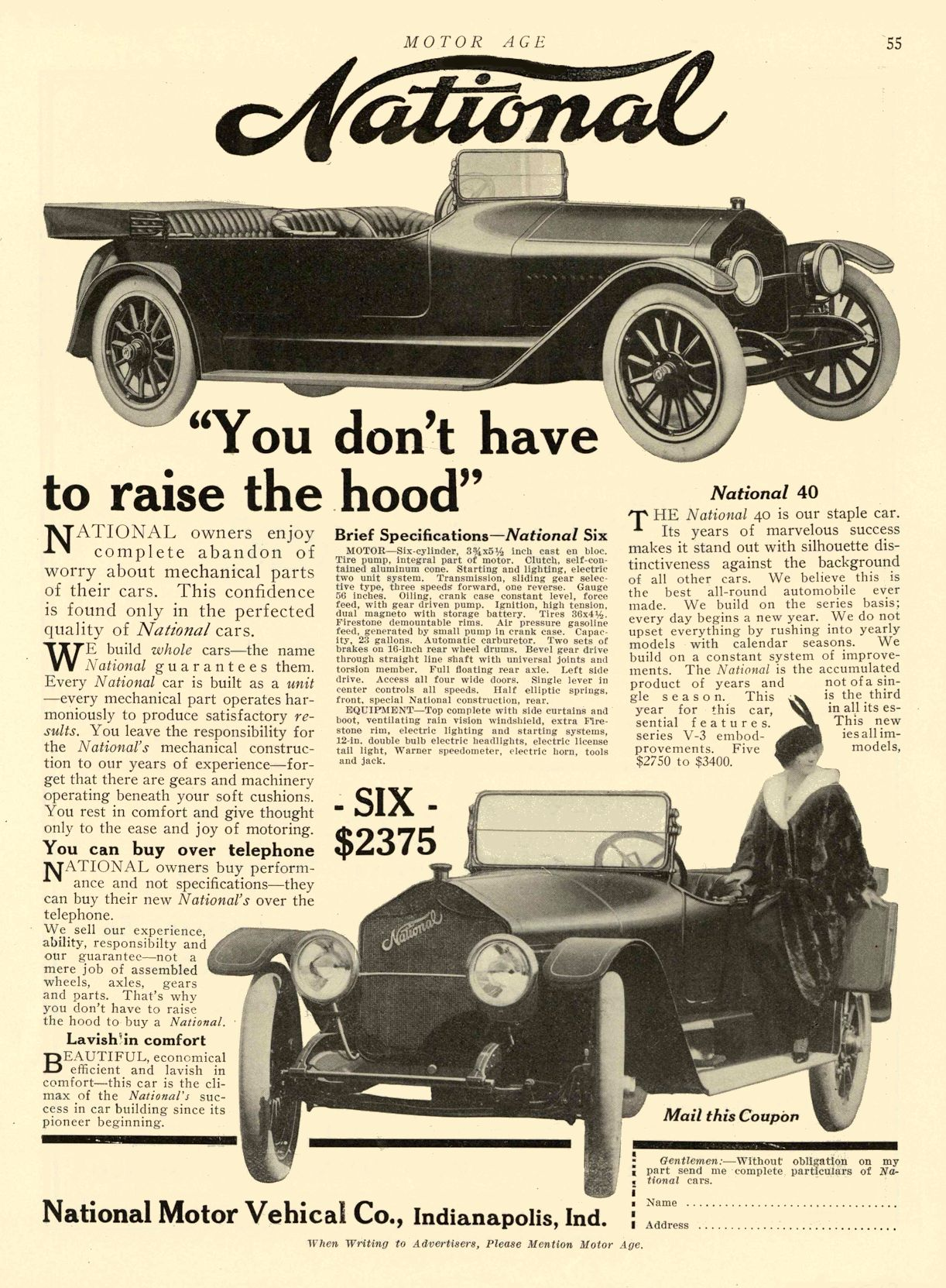 """1913 12 18 1914 NATIONAL National """"SIX"""" $2375 """"You don't have to raise the hood"""" National Motor Vehicle Co. Indianapolis, IND MOTOR AGE December 25, 1913 8.5″x12″ page 55"""
