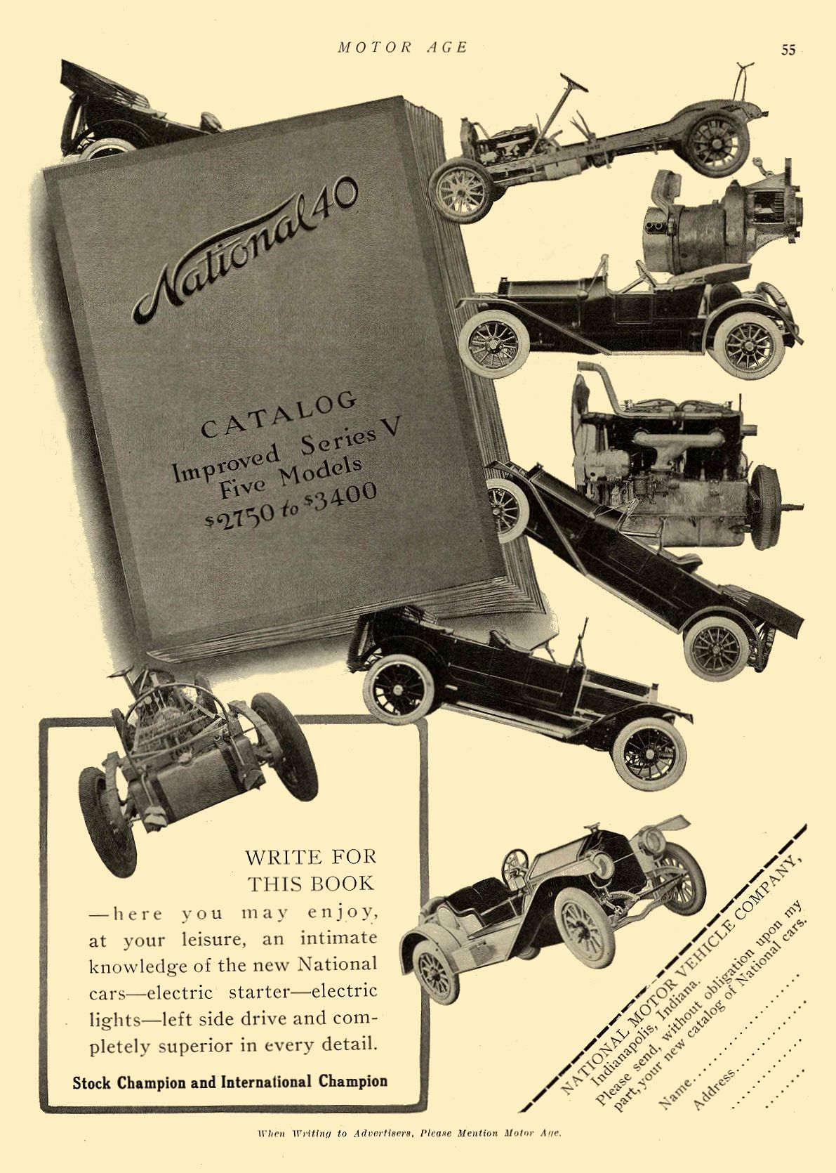 1913 2 20 NATIONAL WRITE FOR THIS BOOK NATIONAL MOTOR VEHICLE COMPANY Indianapolis, IND MOTOR AGE February 20, 1913 8.5″x12″ page 55