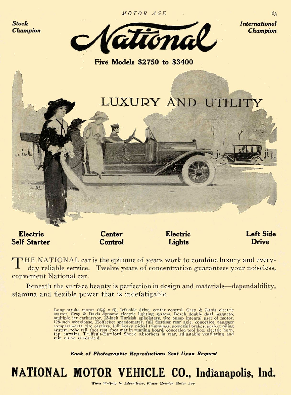 1913 3 13 NATIONAL National $2750 to $3400 LUXURY AND UTILITY NATIONAL MOTOR VEHICLE CO. Indianapolis, IND MOTOR AGE March 13, 1913 8.5″x12″ page 63
